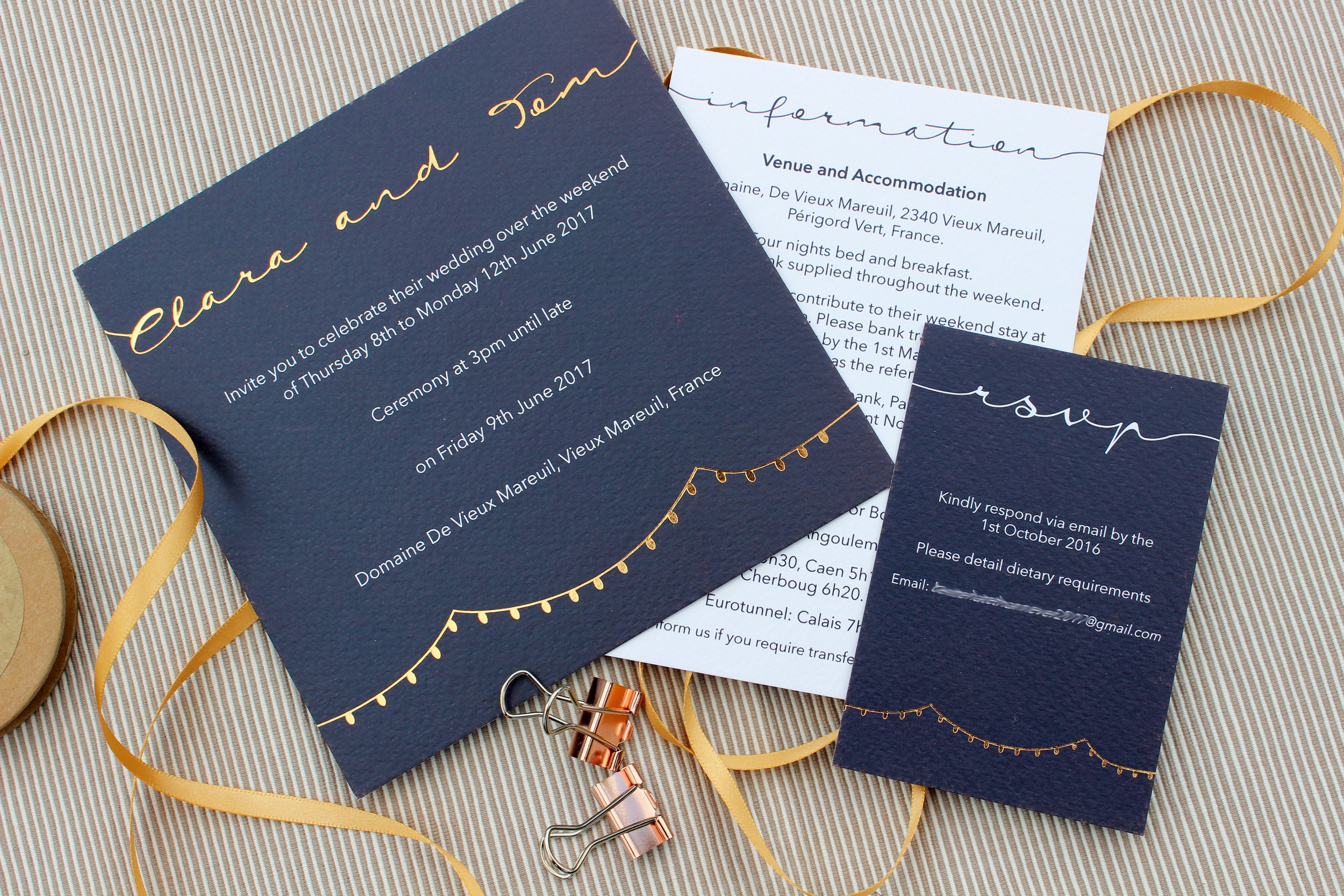 Navy & Rose Gold Bespoke Wedding Invitation