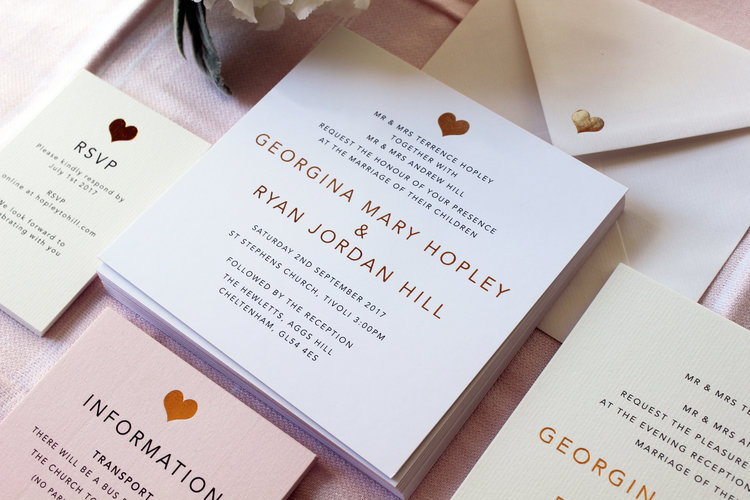 Blush Pink & Rose Gold Wedding Invitations