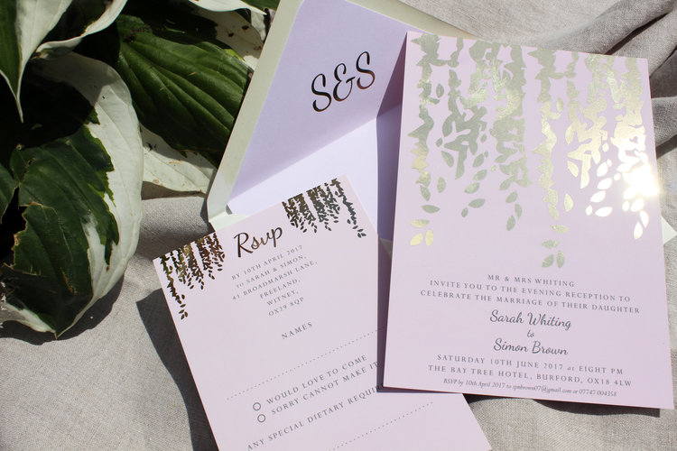 Blush Pink & Rose Gold Wedding Invitations