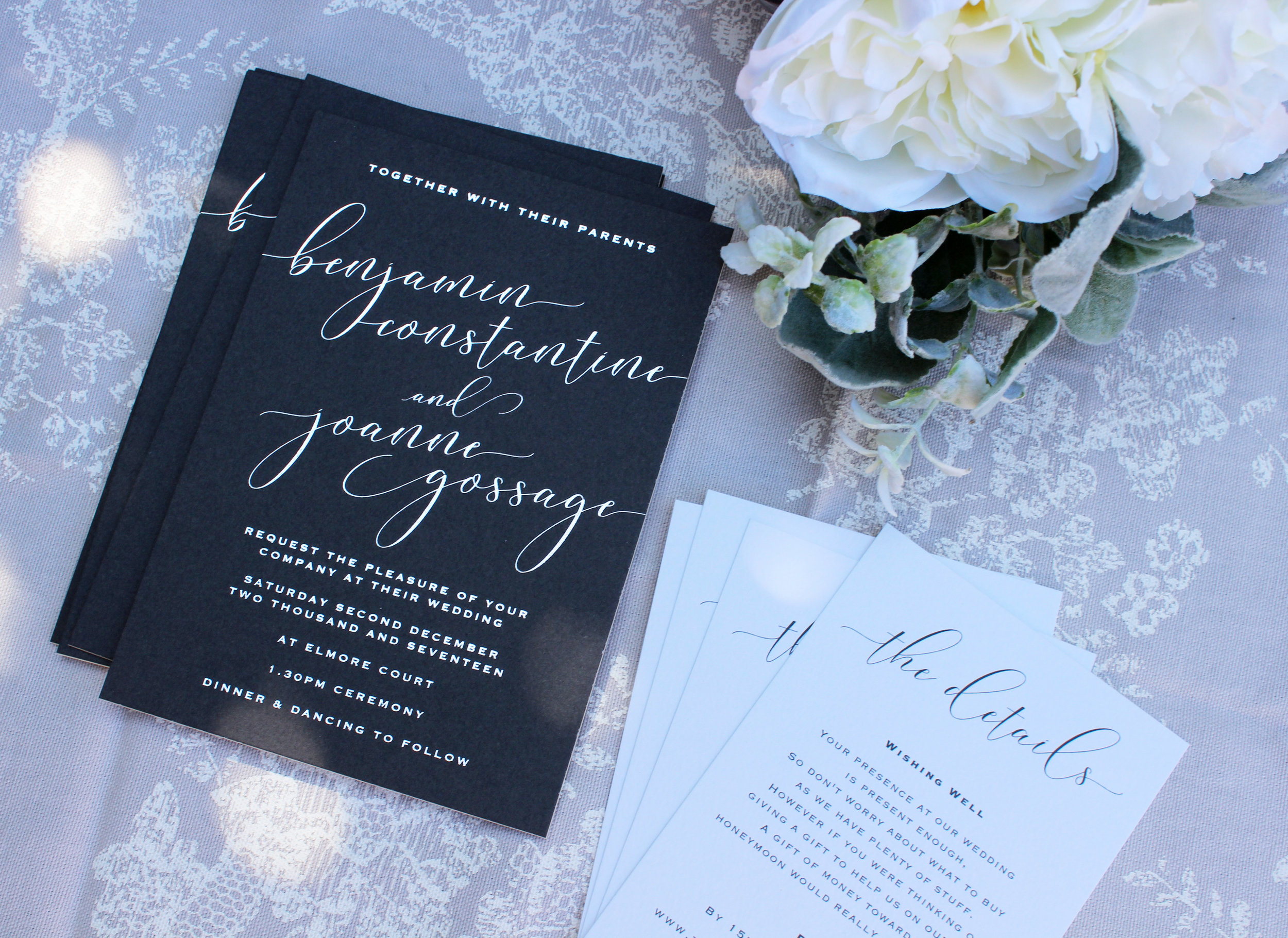 silver foiled wedding invitations