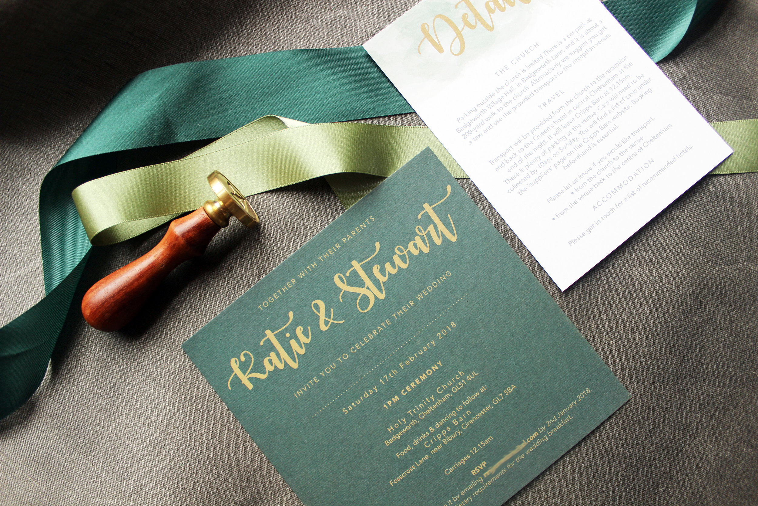 Wedding Invitation in Green and Gold
