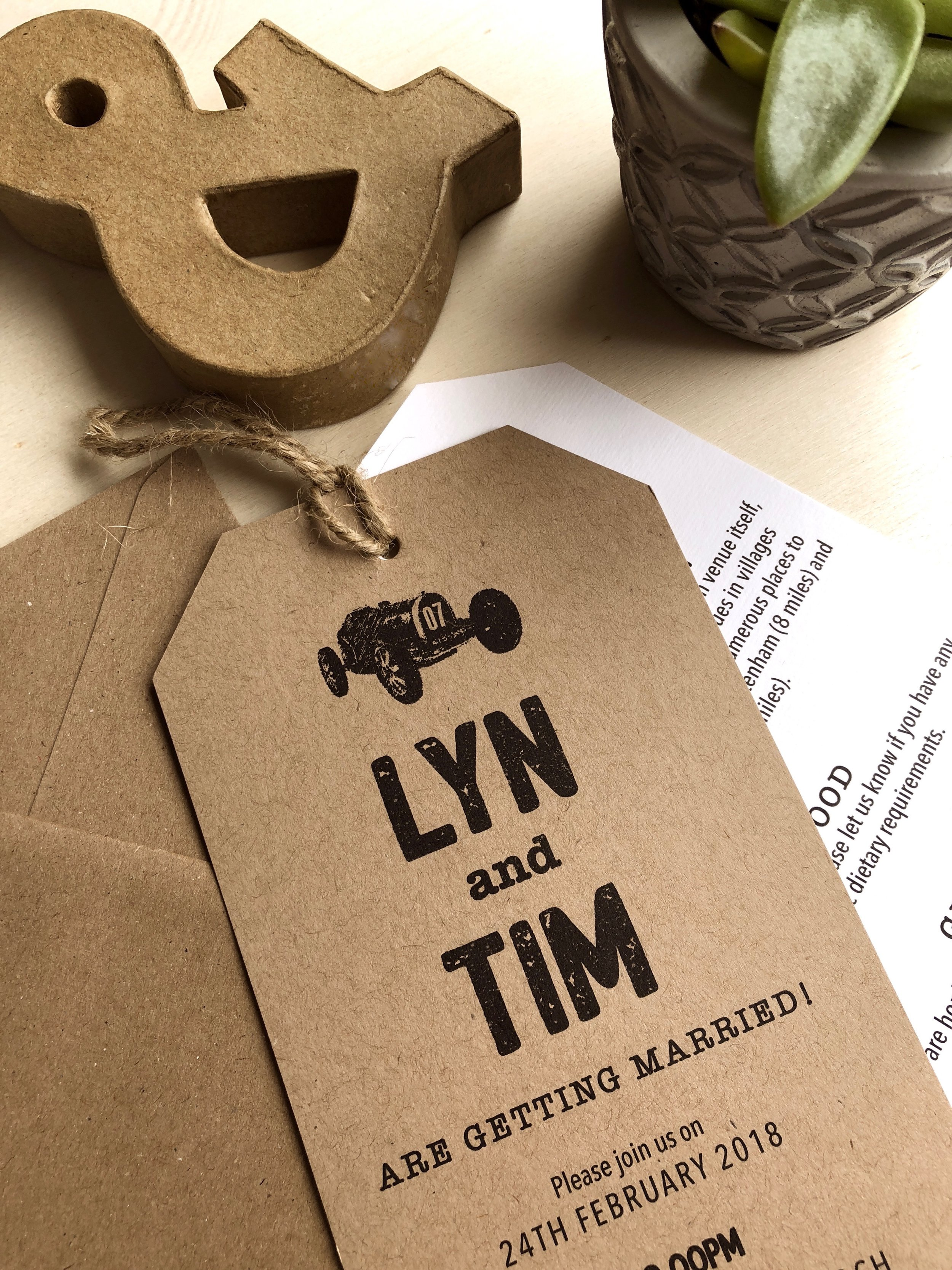 Brown Kraft wedding invitation