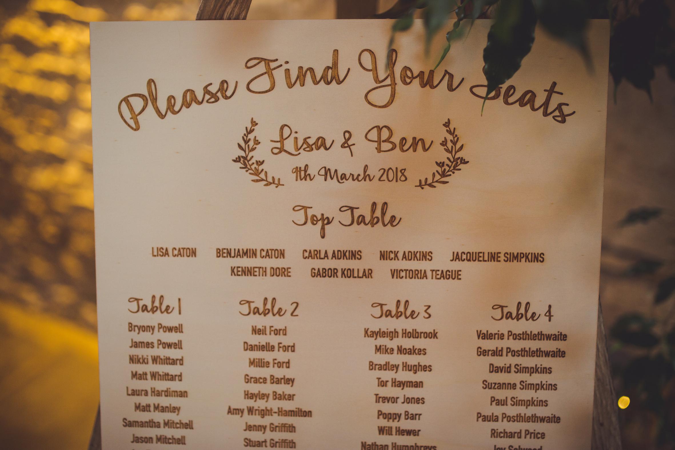 Laser Engraved Table Plan