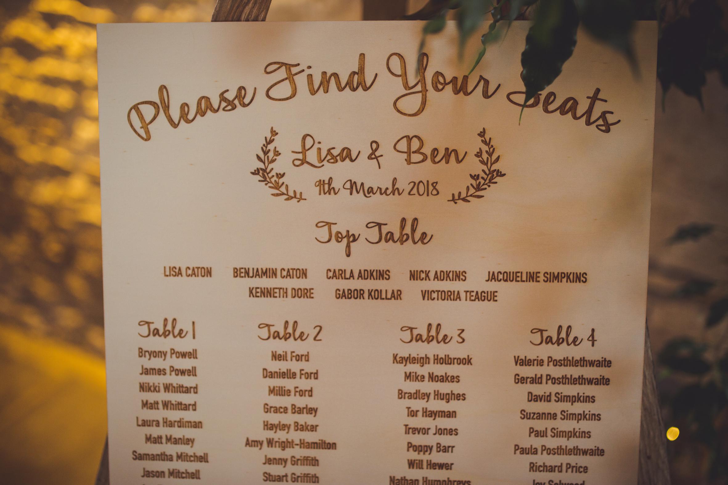 Laser Engraved Table Plan