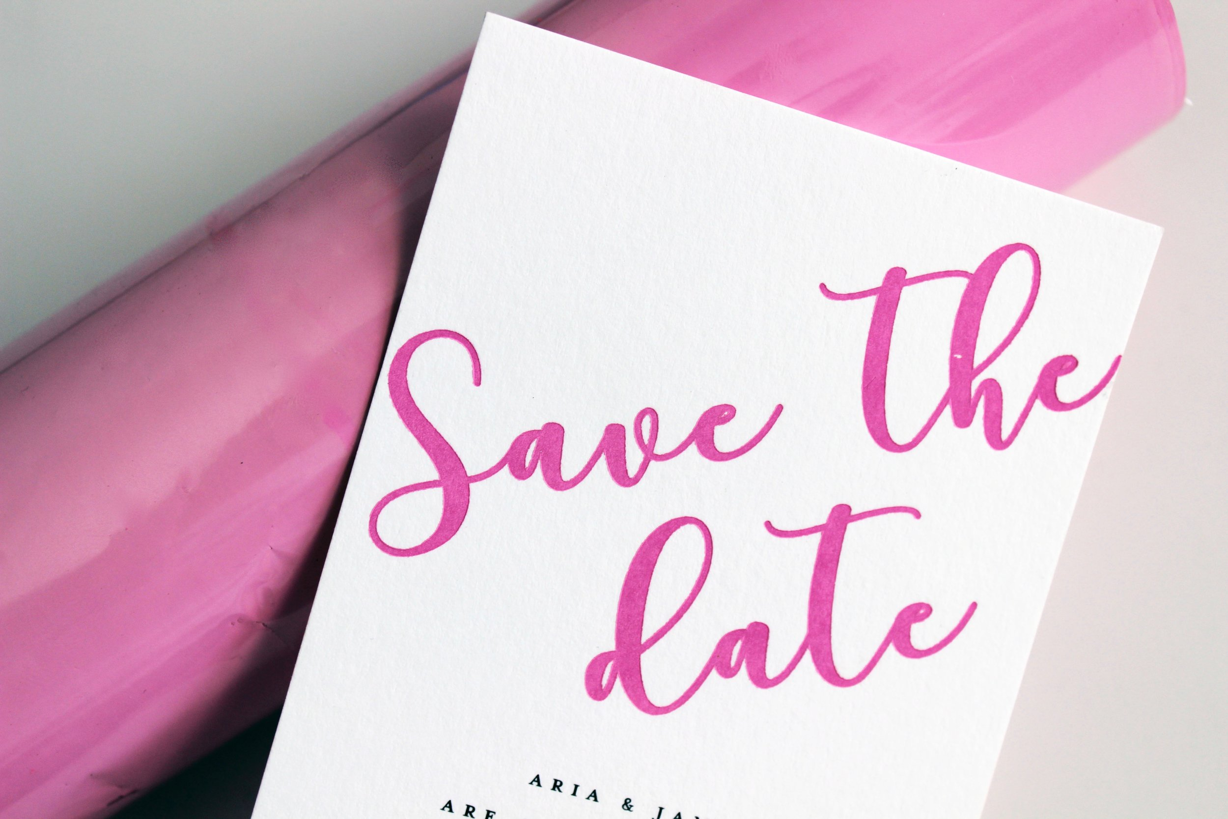 Pink Foiled Save the Date