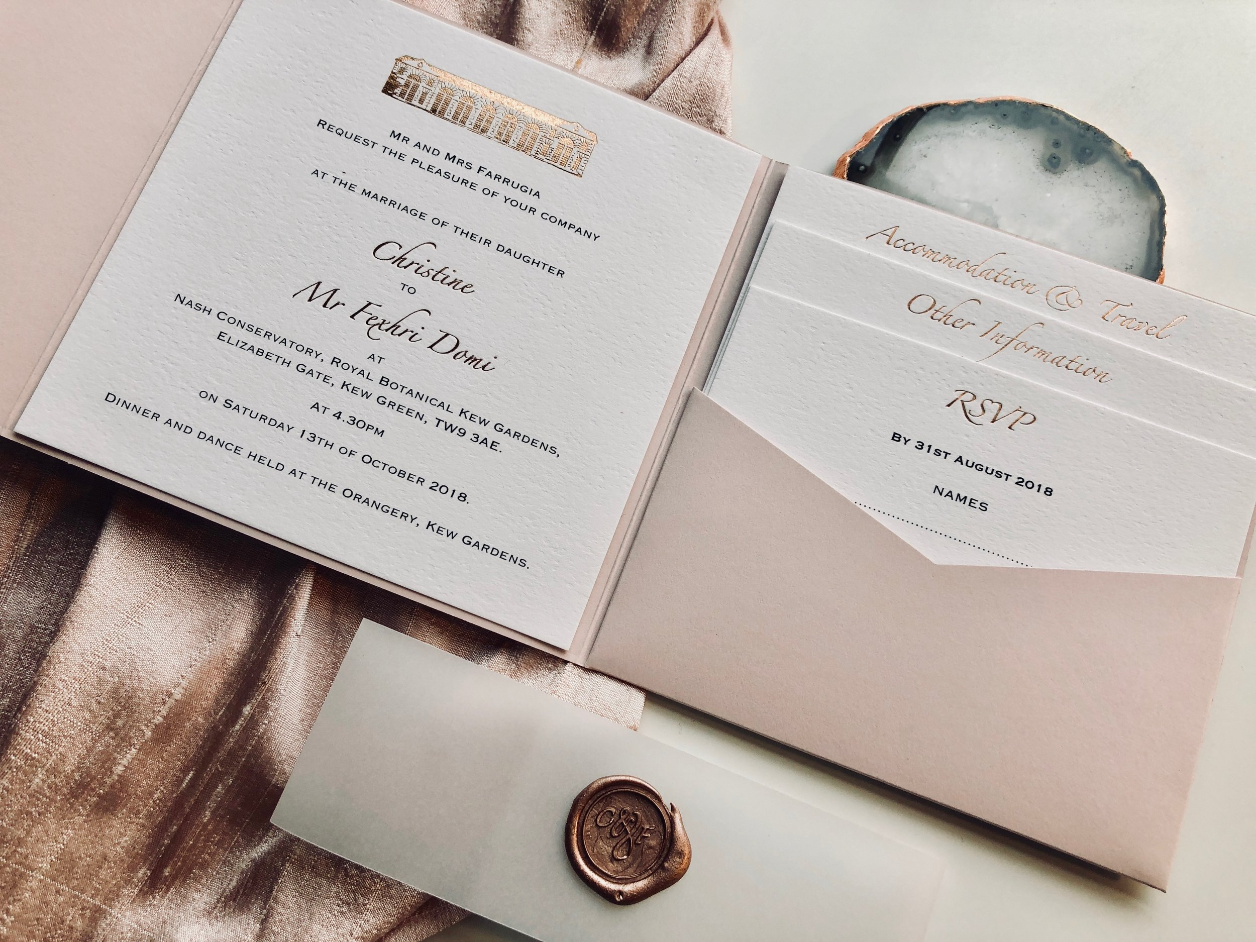 Kew Gardens Bespoke Wedding Invitation