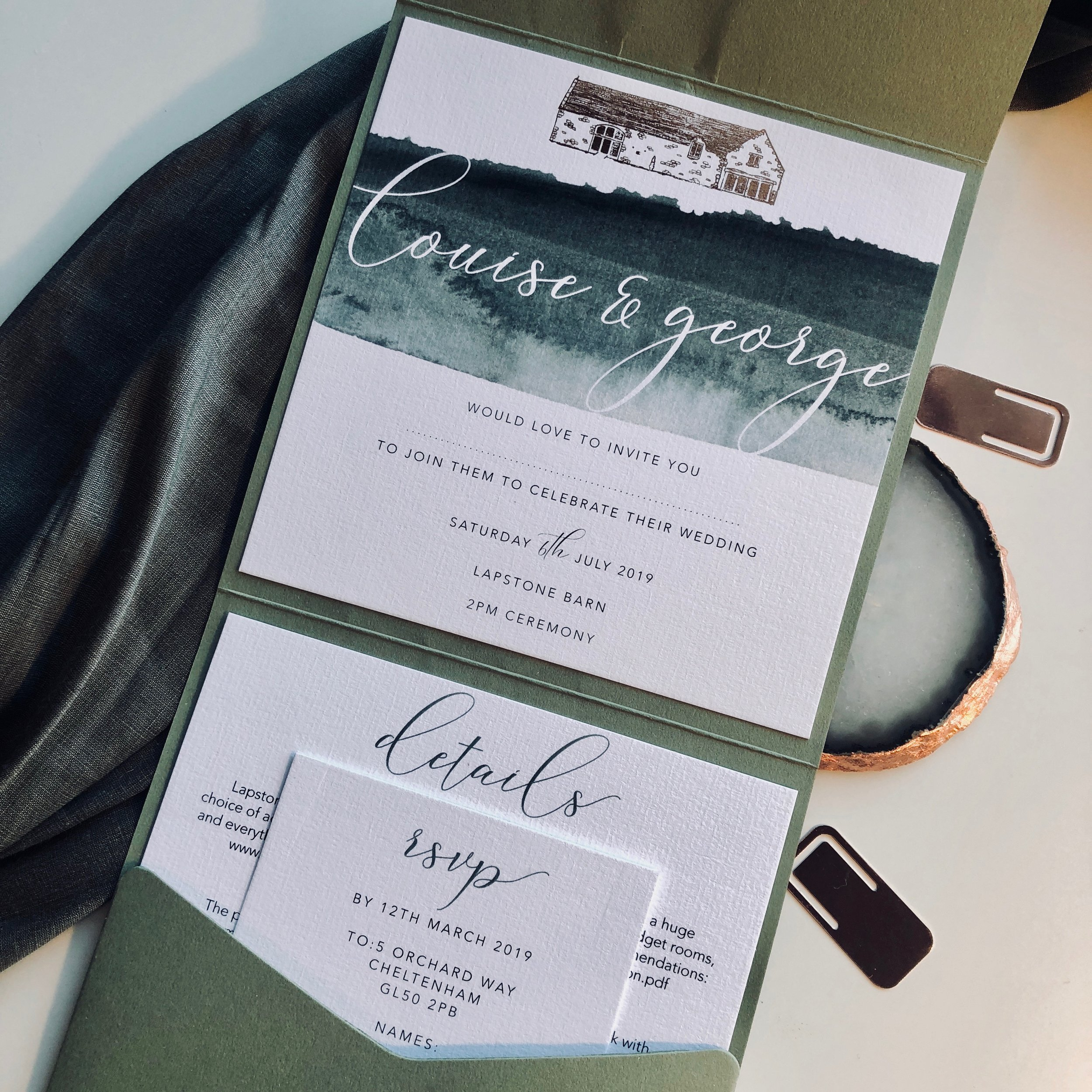 Lapstone Barn Wedding Invitation