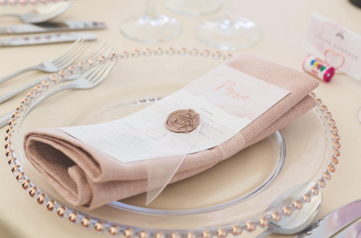 Flamingo Blush Menu with Wax Stamp