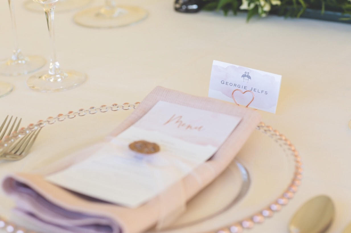 Flamingo Blush Menu with Wax Stamp and Place Name