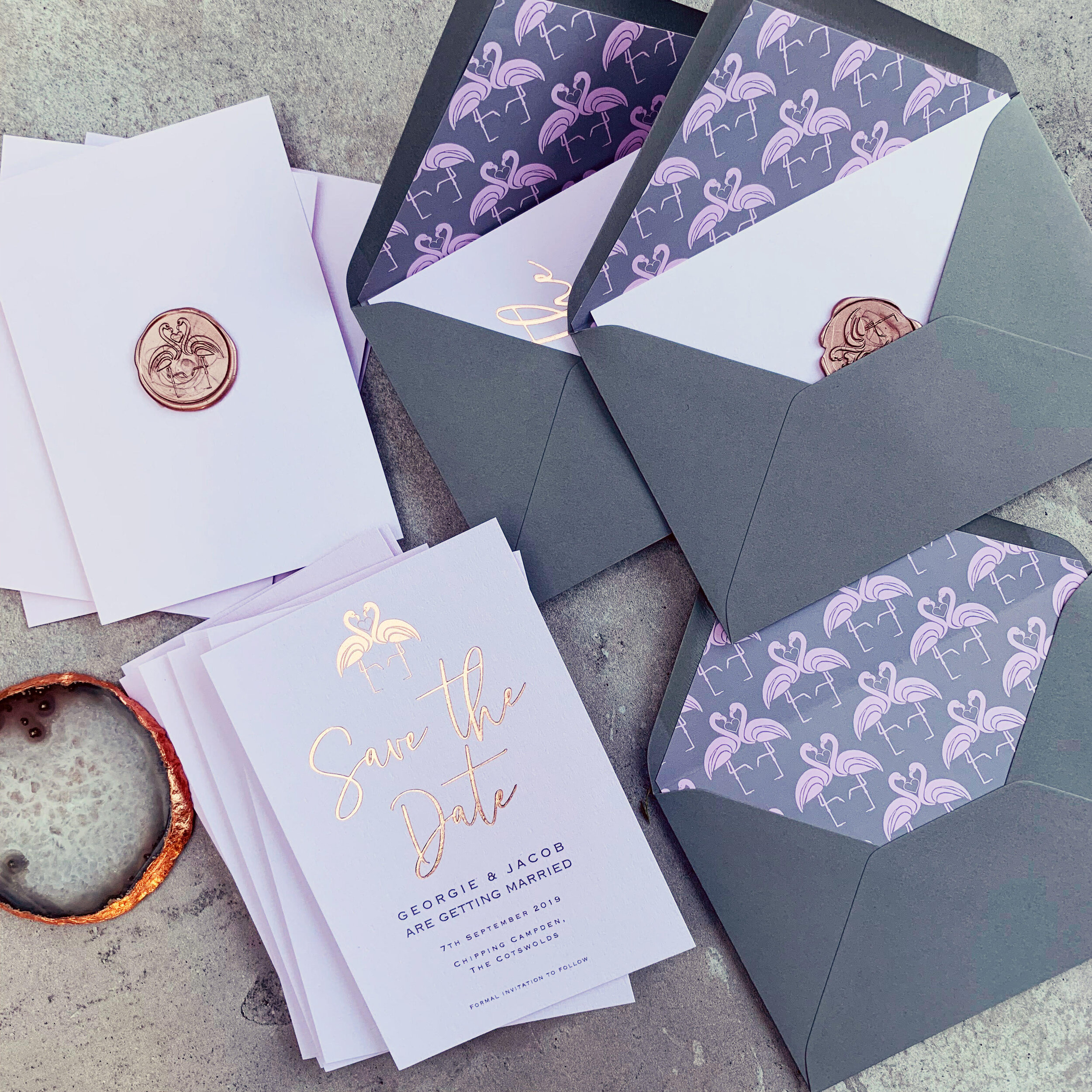 Flamingo Blush and Rose Gold Save the Date with Wax Stamp and Flamingo Envelope liners