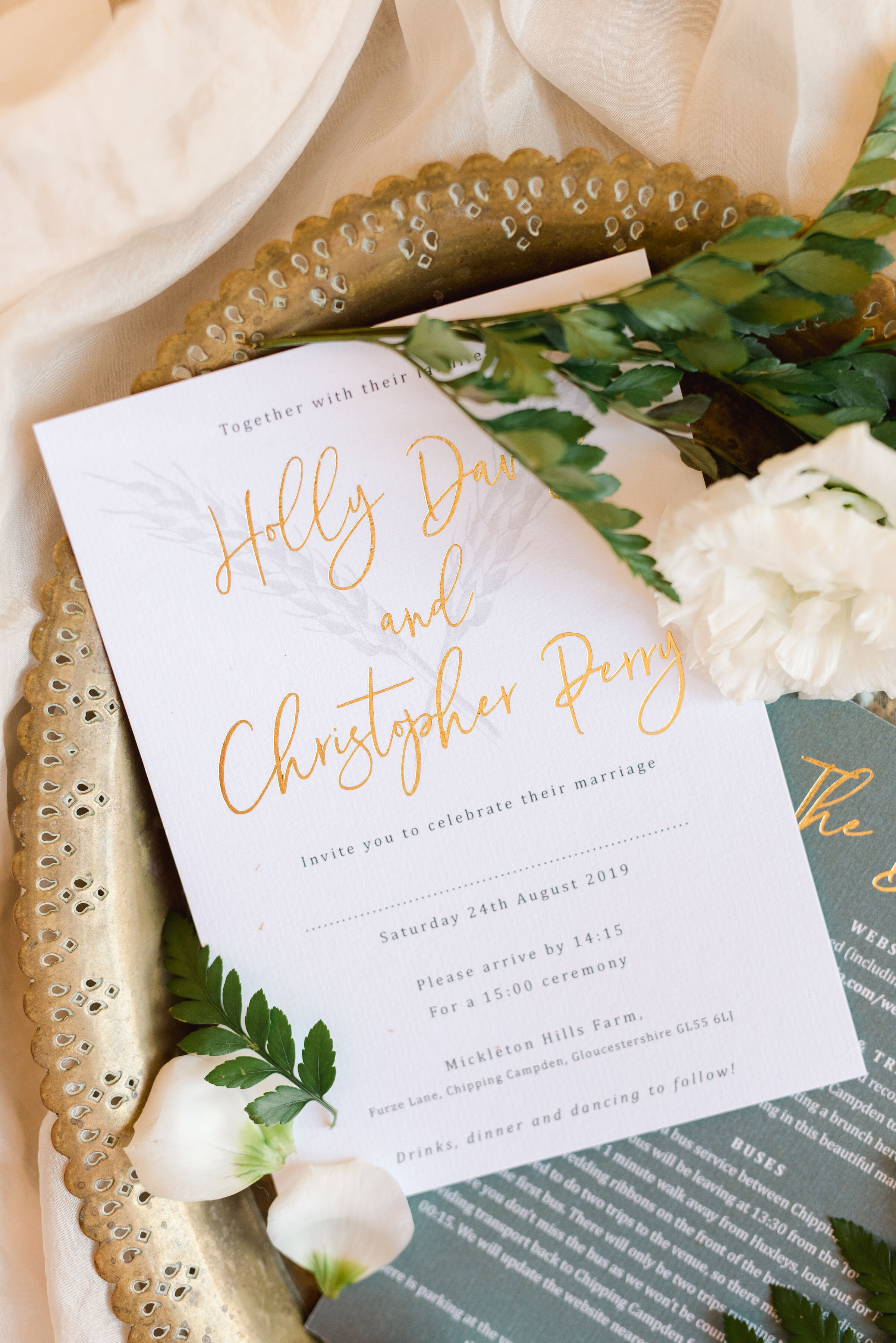 Rustic Elegance Wedding Invitations with Gold Foiling