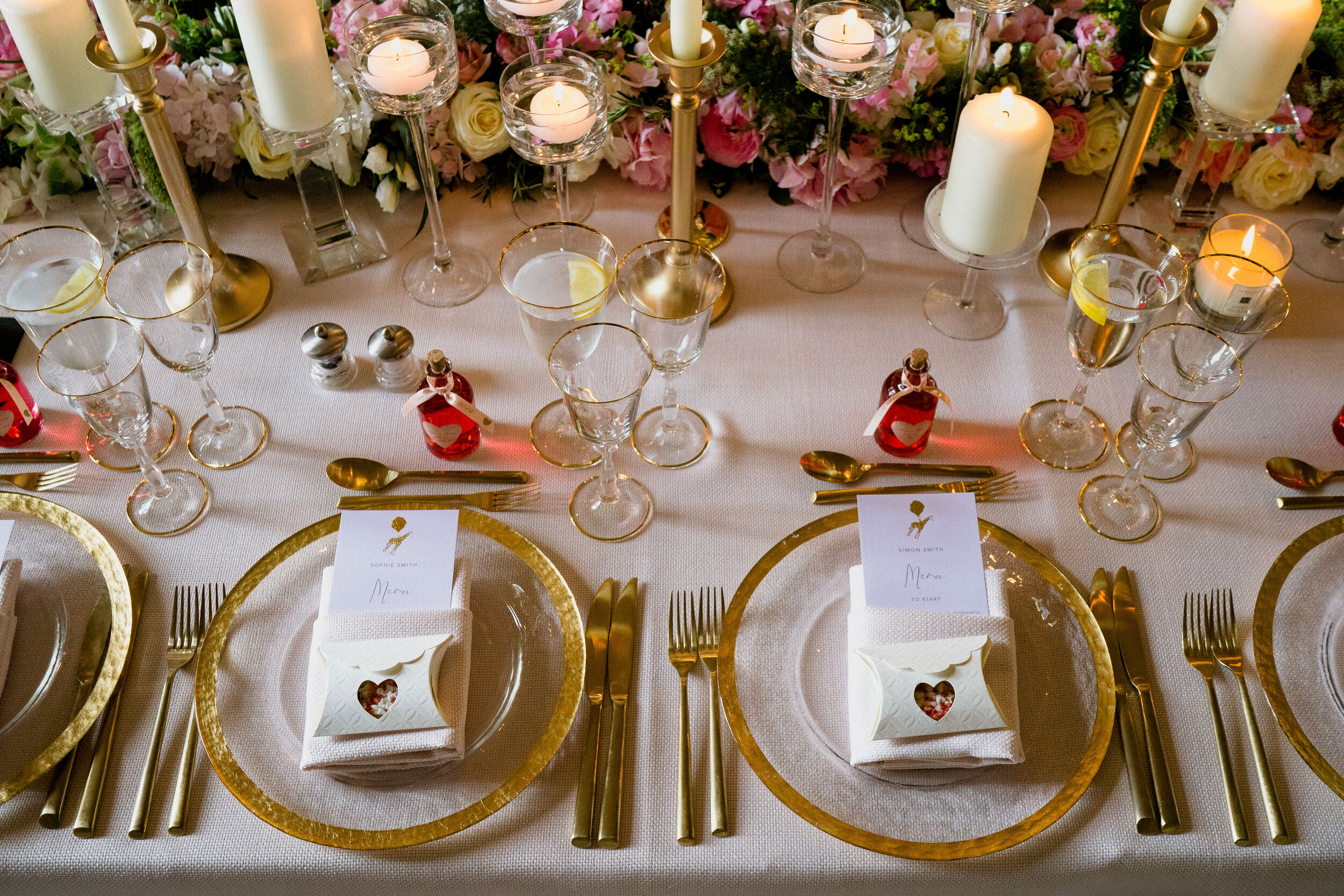 Gold Foiled Menu - Aynhoe Park