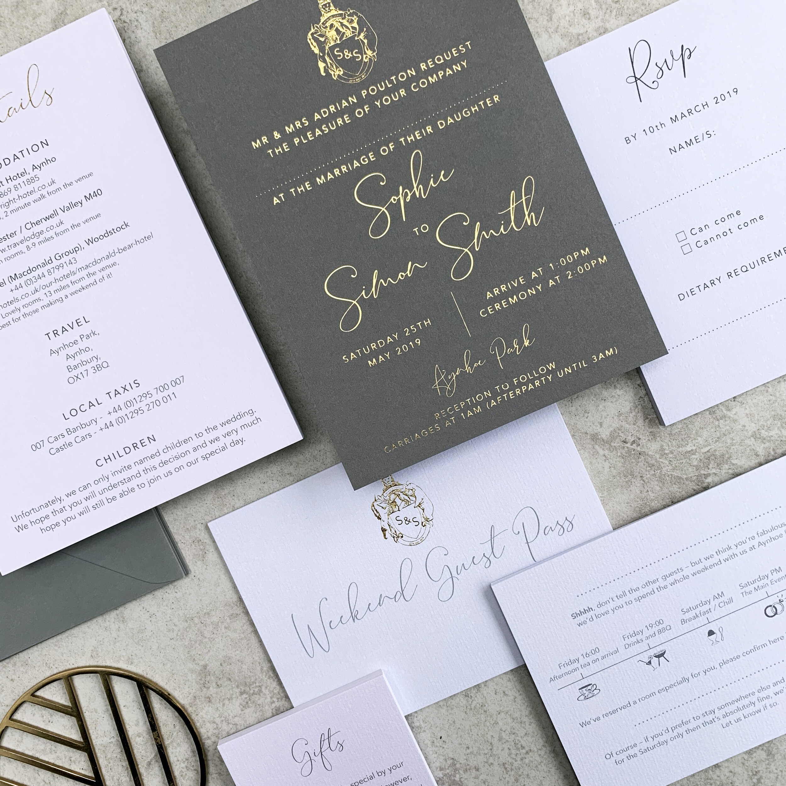 Grey and Matte gold Foiled Aynhoe Park Invitations
