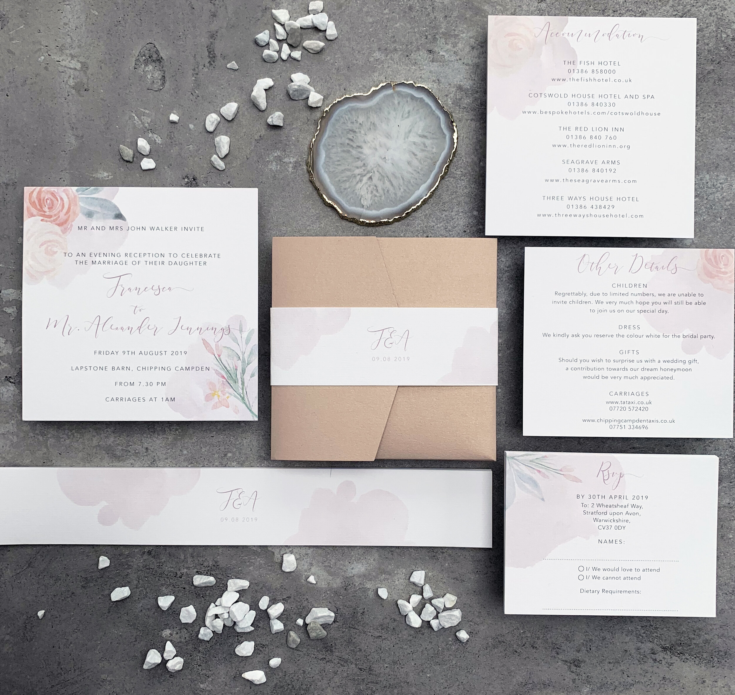 Blush Floral Wedding Invitation Suite with Nude Pocket Fold