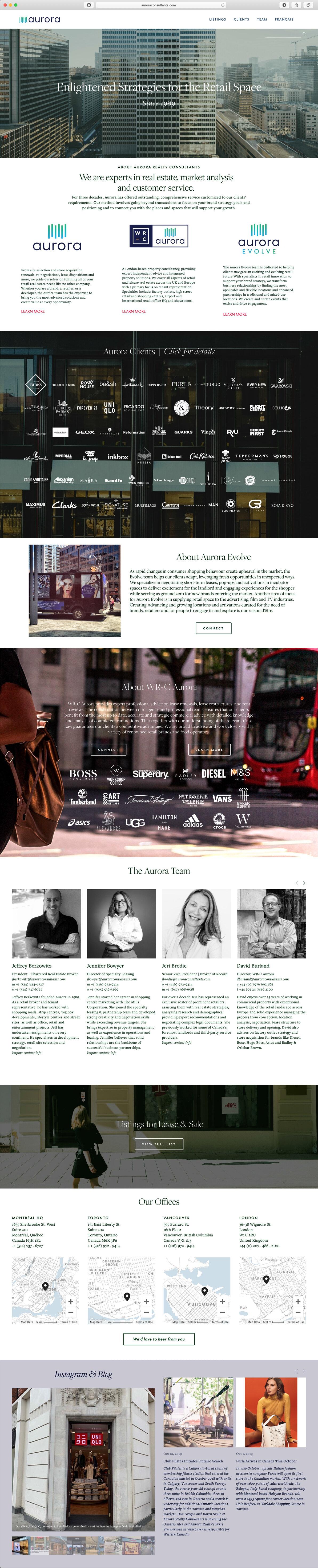 Aurora Realty Consultants - bilingual website design & build, copywriting