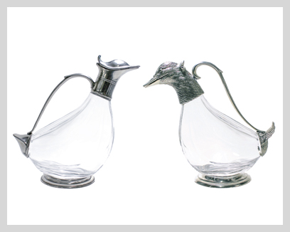 Menagerie Crystal/Pewter Duck Decanters, $160-$175