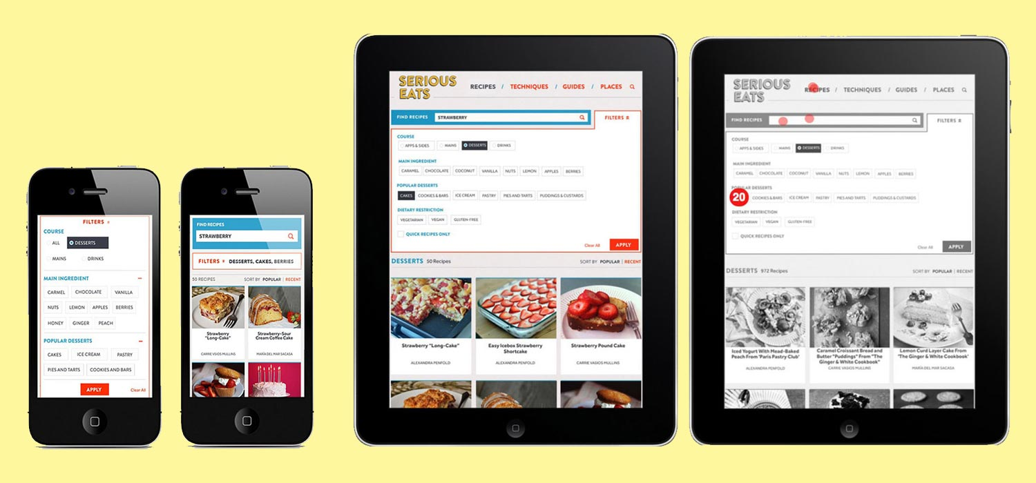 Prototypes:  I created click-through prototypes using the site's new design for phone, tablet, and desktop.   Mobile UX Design:  I collaborated with SE's Design Director to modify the site's search interface across mobile platforms. After revising prototypes based on user feedback, I ran a final round of in-person user tests and made final interface design recommendations.