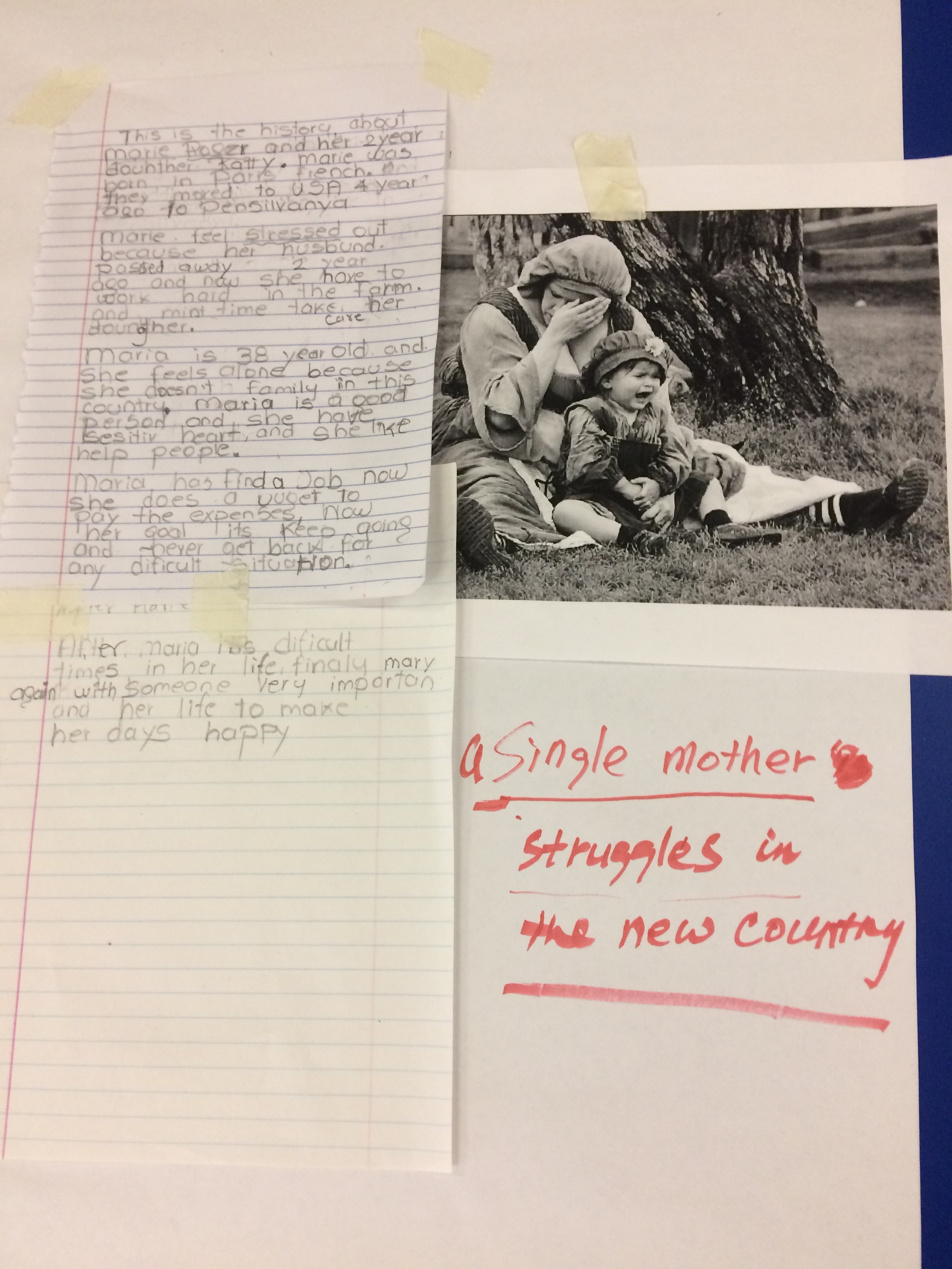 Students read stories written by other groups, wrote questions about the story, and proposed a story title.