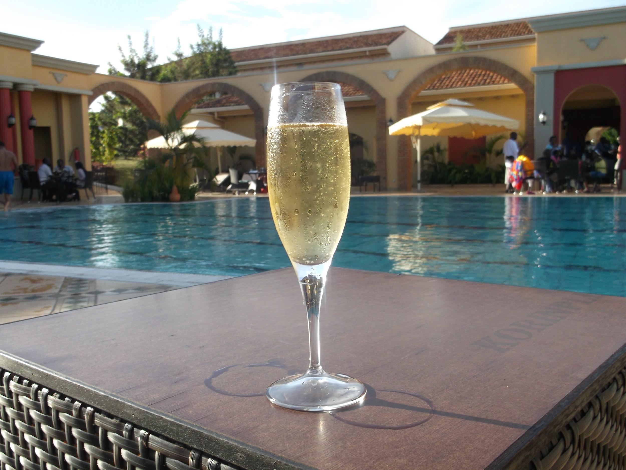 Champagne at Serena Hotel, Kampala, Uganda © Flyga Twiga LLC