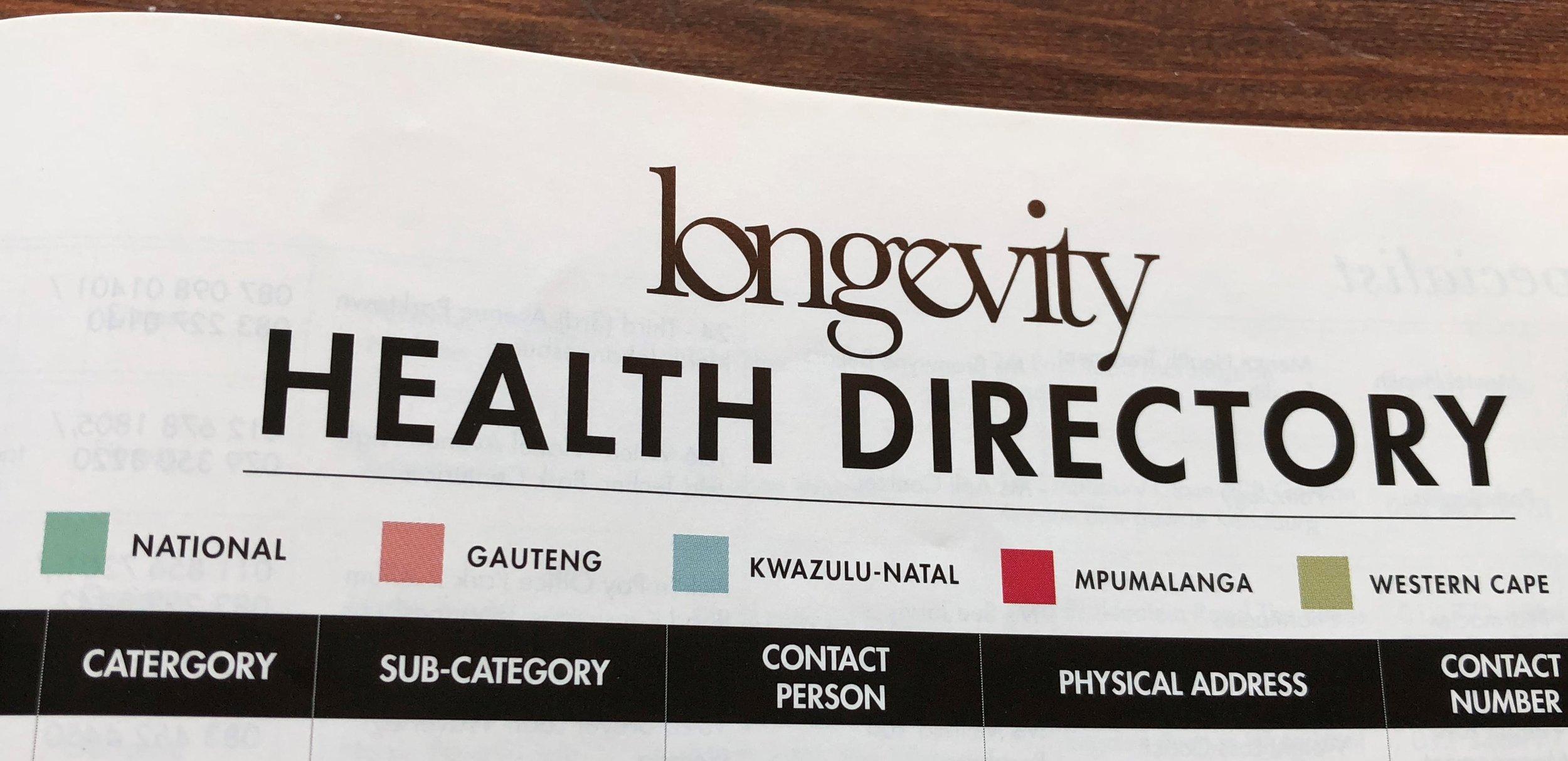 Longevity Health Directory © Flyga Twiga LLC