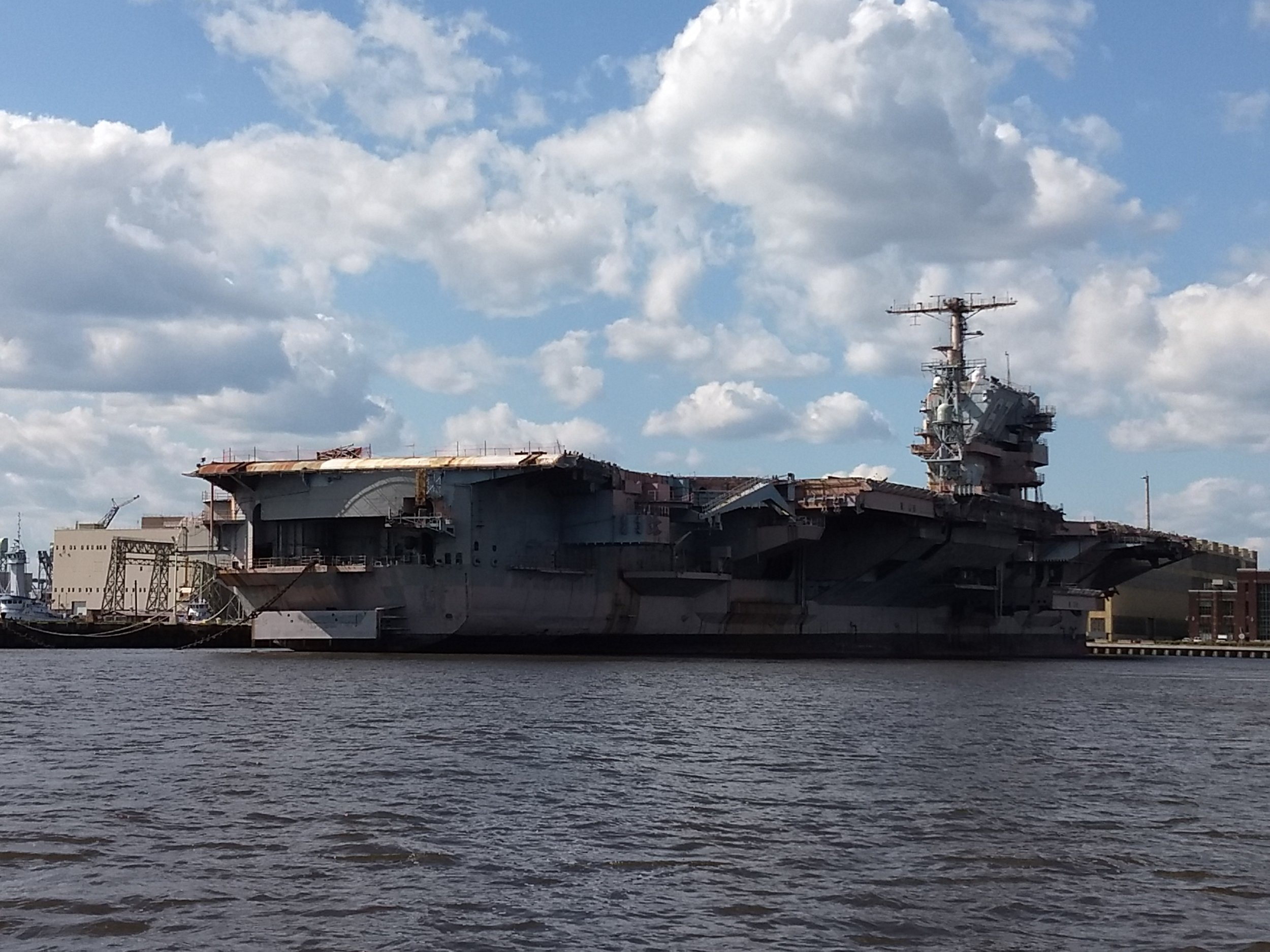 The USS John F. Kennedy Aircraft carrier being restored at the Philadelphia Naval Shipyard.
