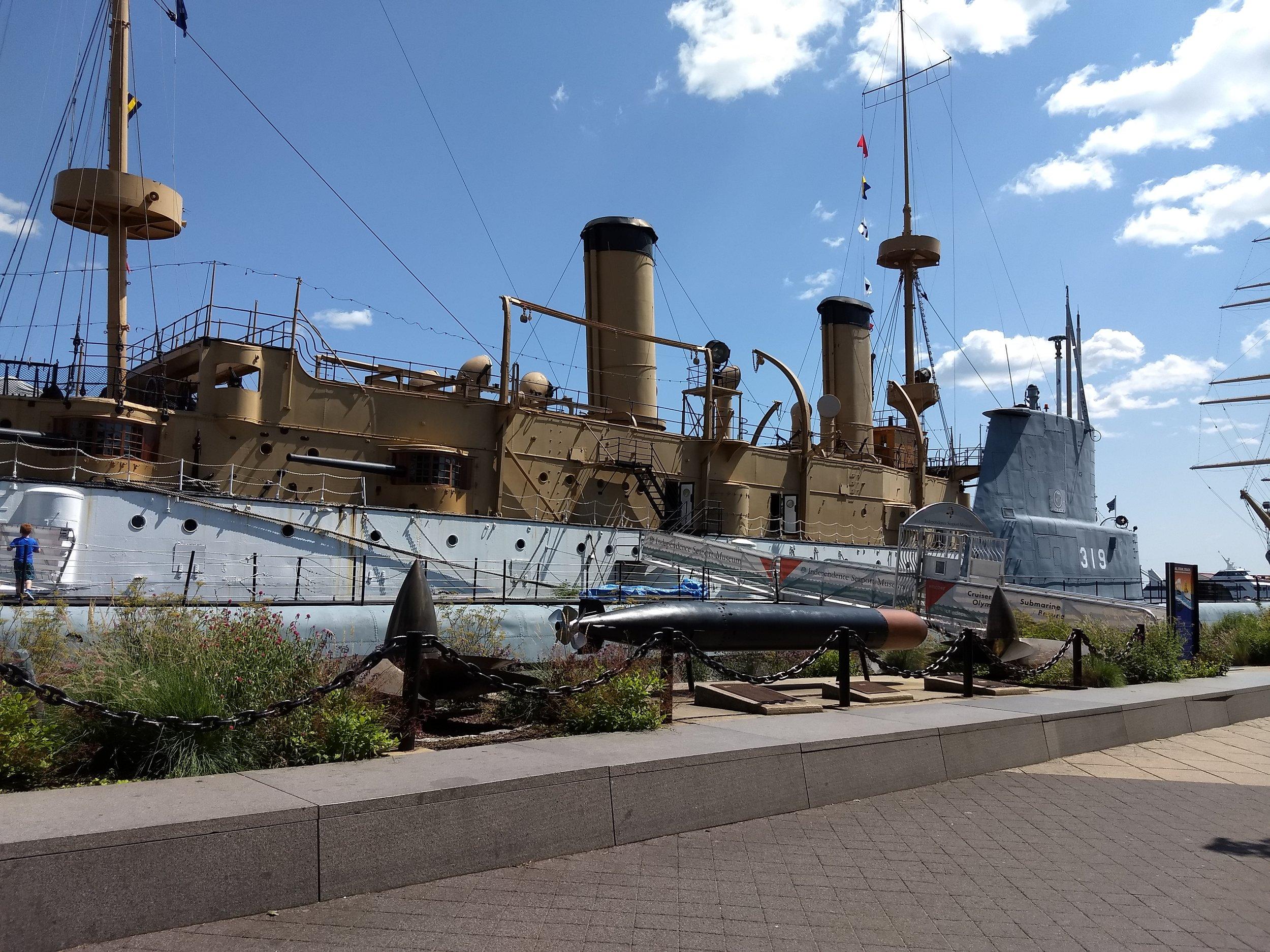 Historic cruiser ship and submarine docked at Penn's Landing, Philadelphia.