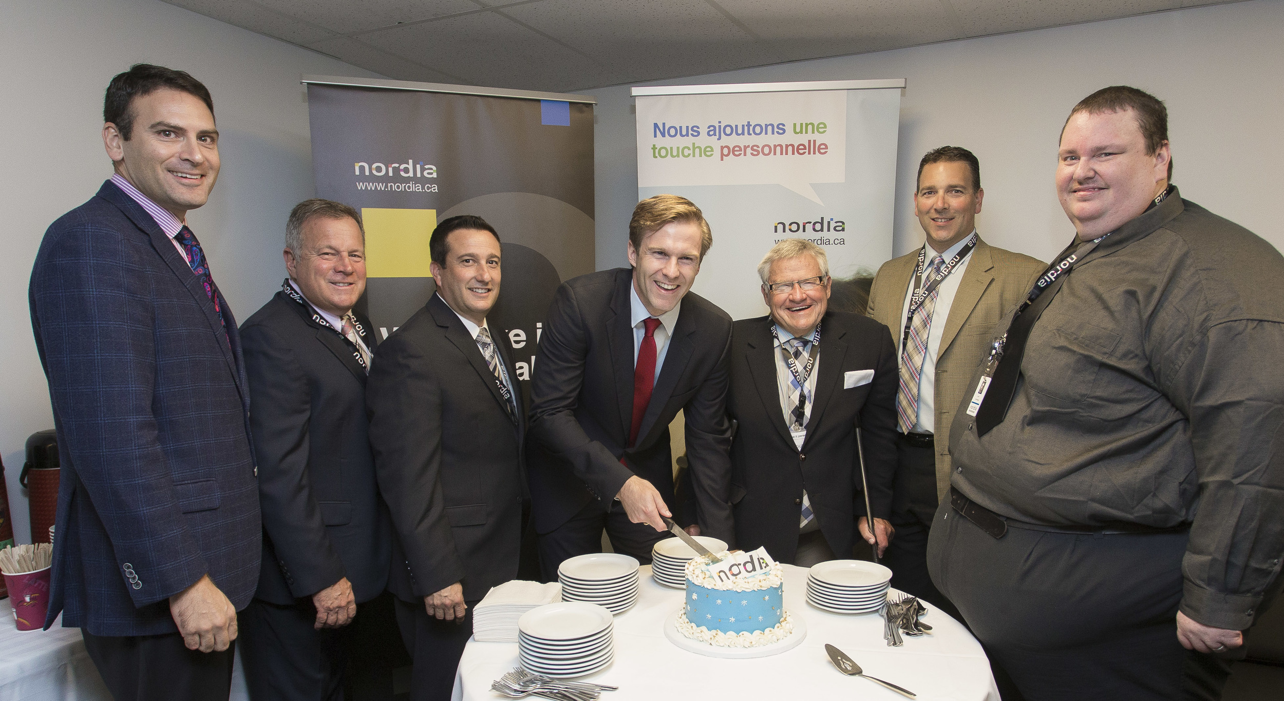 (From left to right): Mayor Norton, Minister Doucet, John DiNardo (President, Nordia), Premier Gallant, Minister Doherty, Steve Milbury (ONB), Todd Miller (Site Director, Saint John)