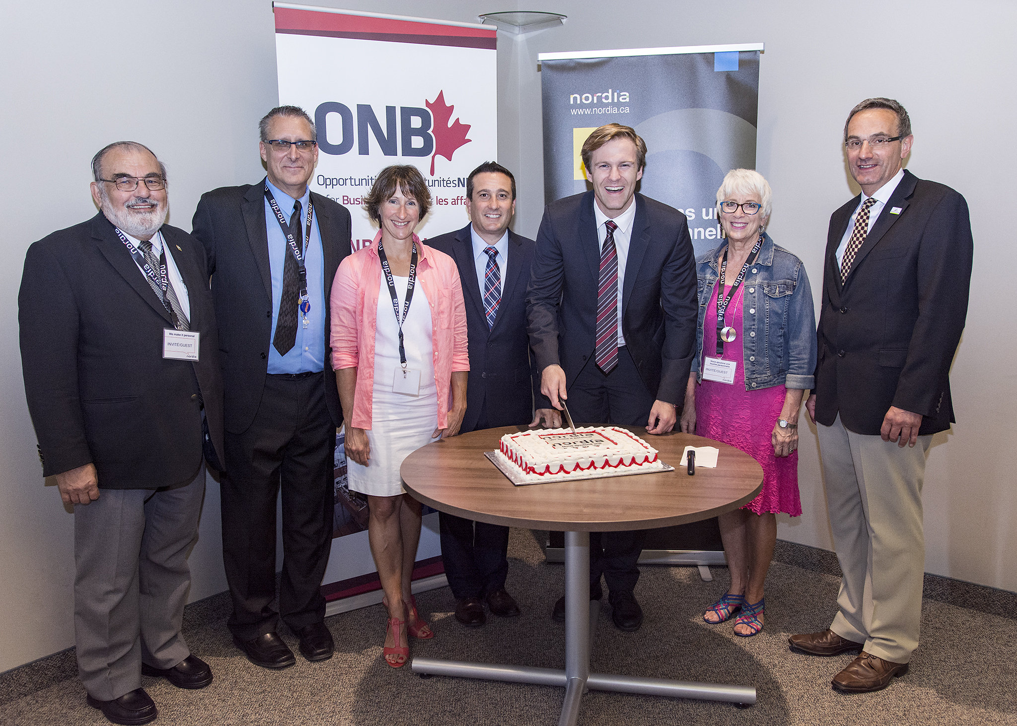 (from left), Jean Gaudet (Councilor, City of Dieppe), Dan Fraser (Moncton Site Director), Monique LeBlanc (MLA, Moncton East), President John DiNardo, Premier Gallant, Minister Rogers, Councillor Charles Leger