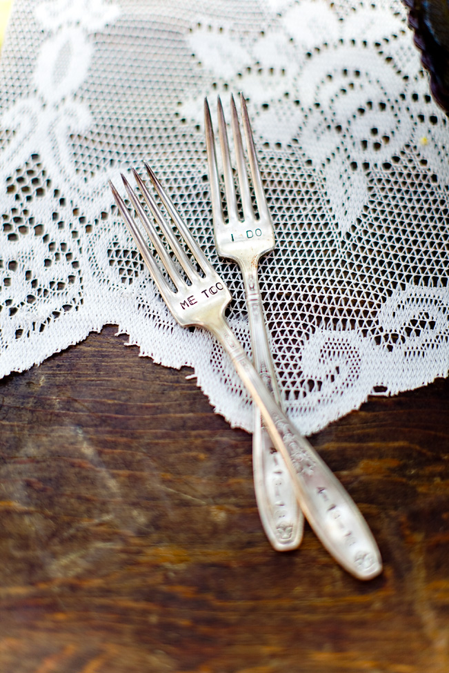 Personalized wedding forks, photography by Katie Beverley.