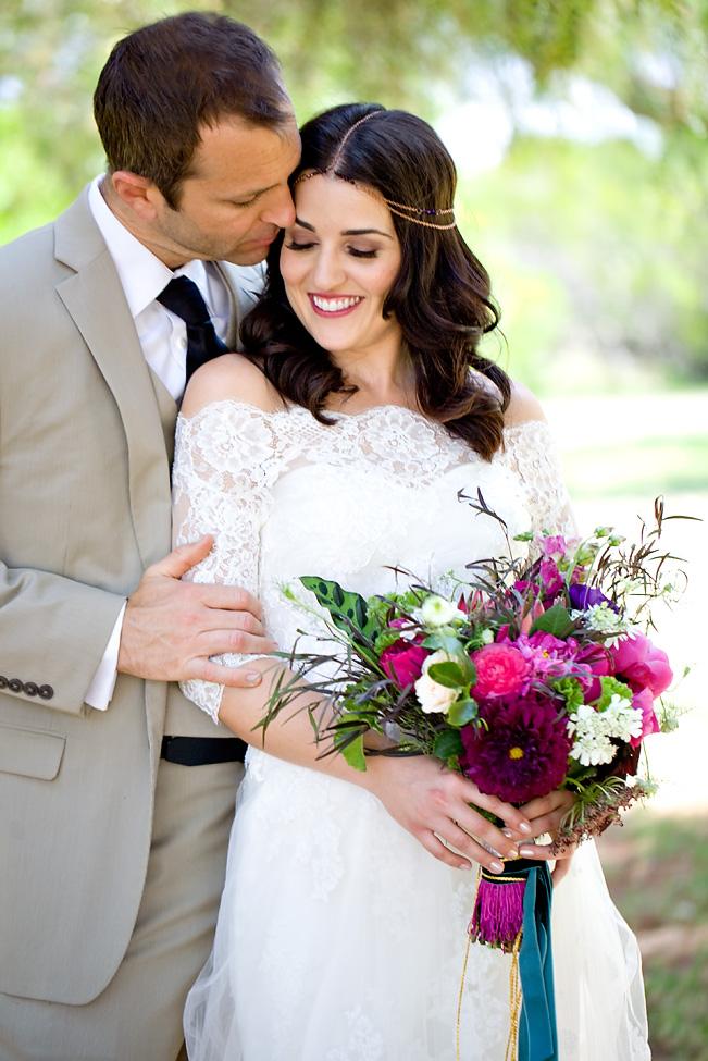 Berry bohemian bridal bouquet by San Diego florist, Compass Floral.