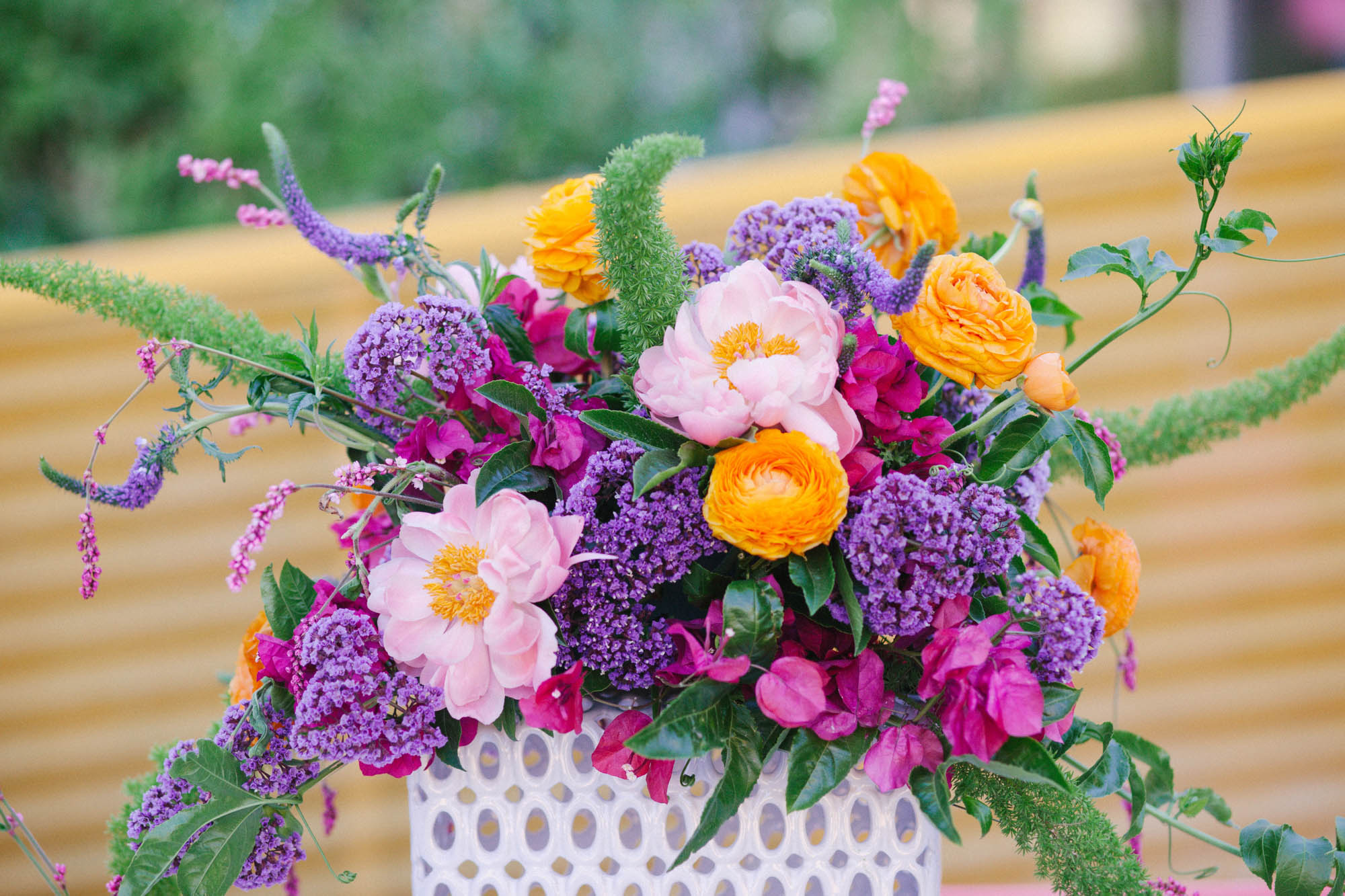 Mod colorful   wedding centerpiece inspiration by San Diego florist, Compass Floral at The Saguaro Palm Springs.