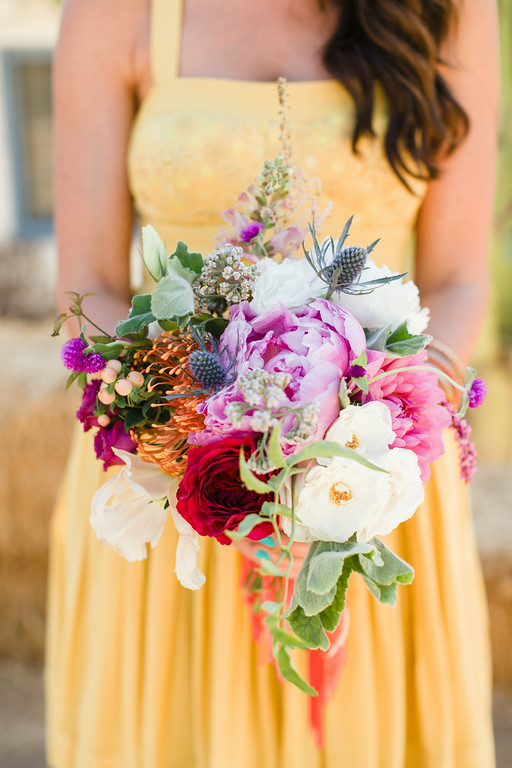 Colorful bohemian   peony bridesmaid bouquets by San Diego florist, Compass Floral.