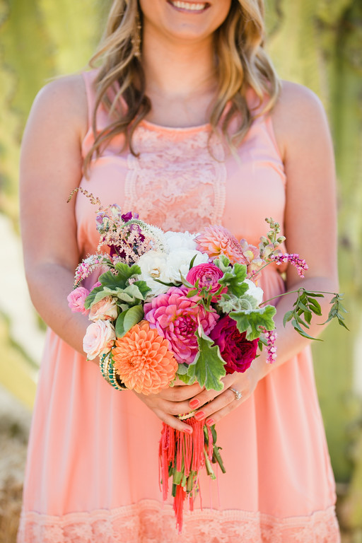 Colorful bohemian   dahlia bridesmaid bouquets by San Diego florist, Compass Floral..
