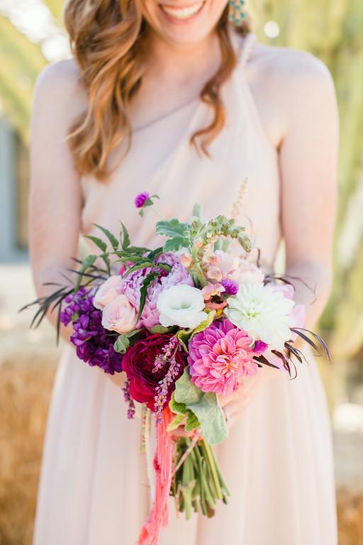 Colorful bohemian  bridesmaid bouquets by San Diego florist, Compass Floral.