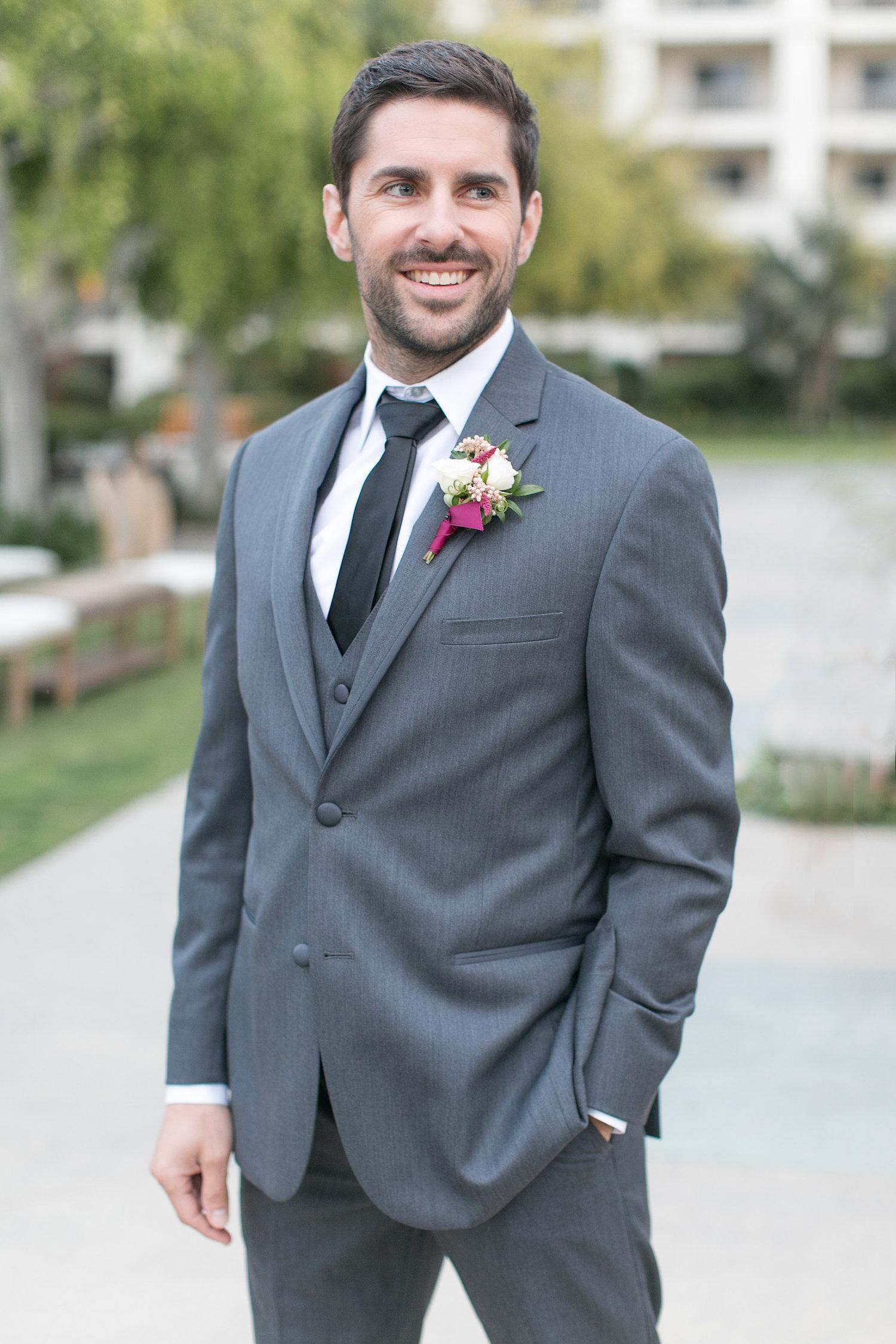 Marsala & blush boutonniere by San Diego wedding florist, Compass Floral.