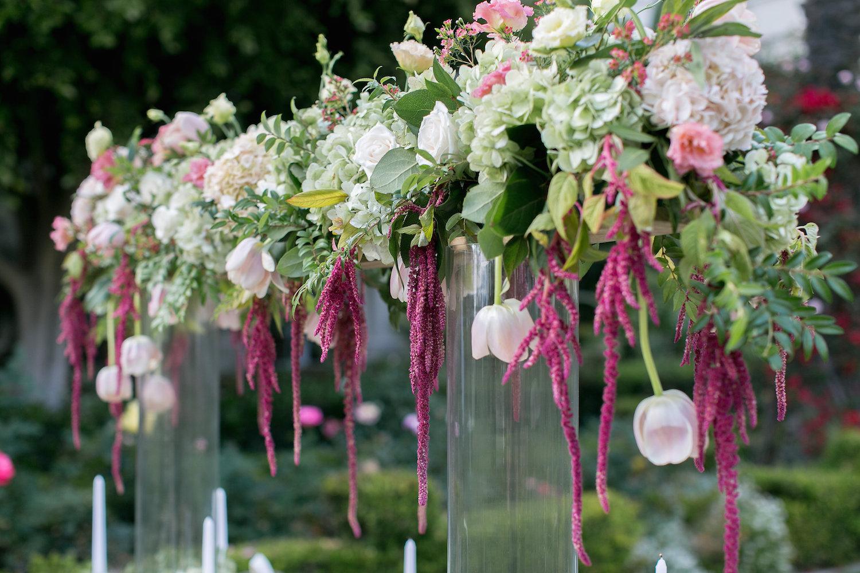 Marsala & blush wedding centerpiece by San Diego florist, Compass Floral.