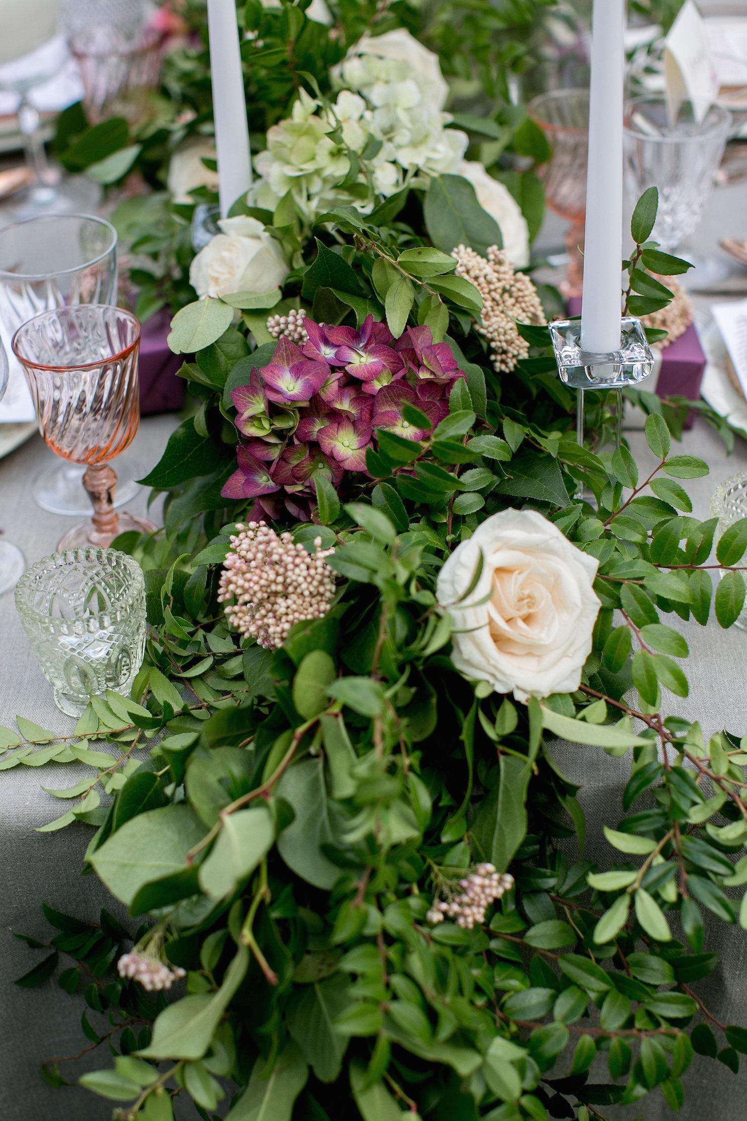 Wedding centerpiece garland by San Diego florist, Compass Floral.