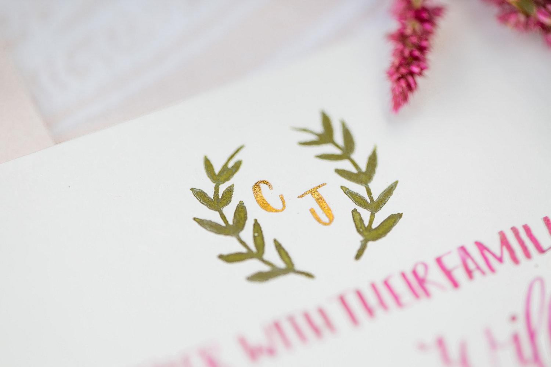 Marsala & gold wedding invitation by Paper & Posies.