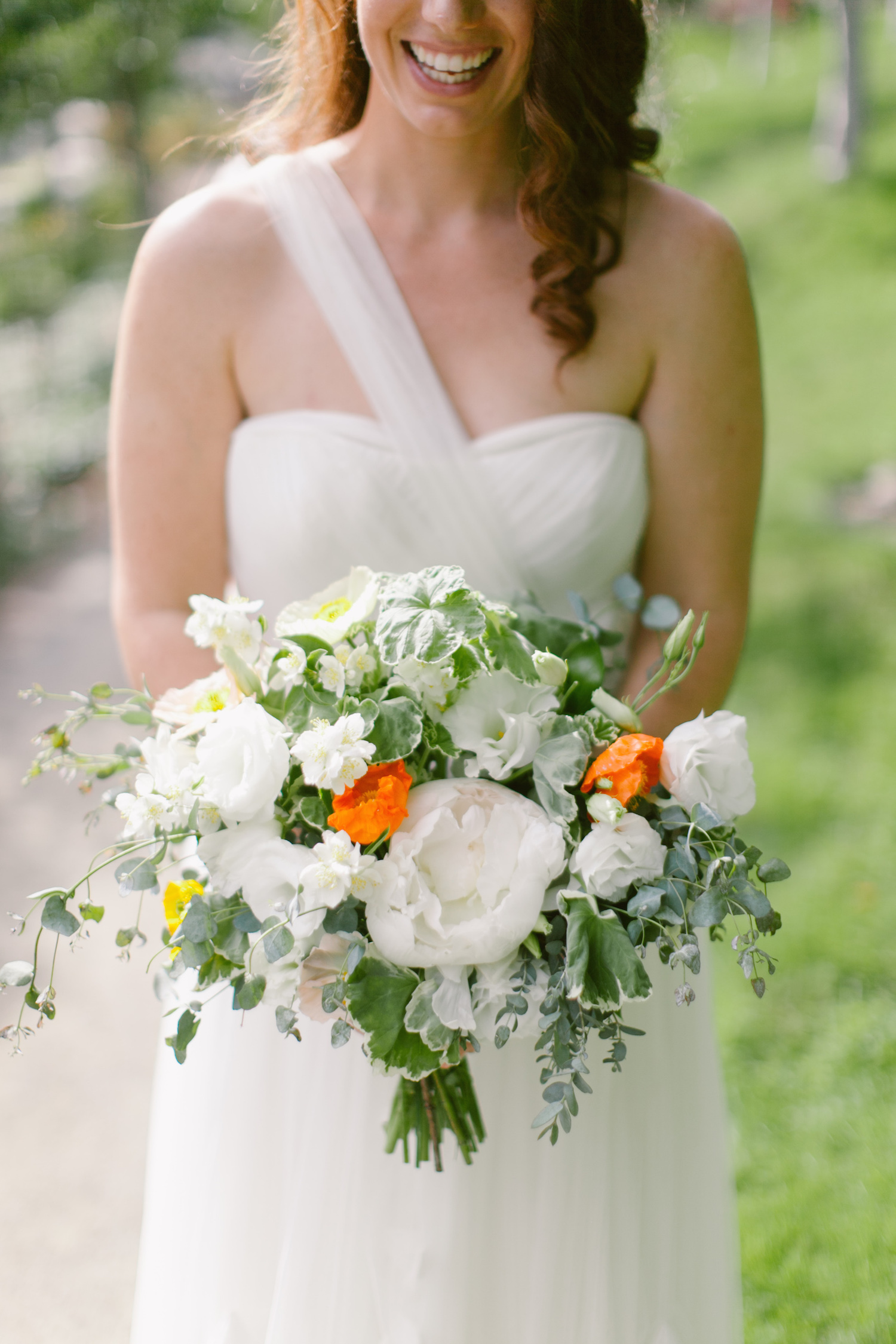 Peony, poppy & geranium bridal bouquet by San Diego wedding florist, Compass Floral.