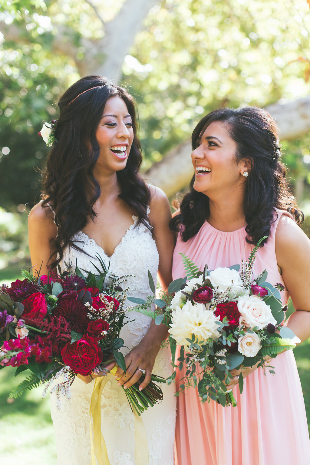 Temecula Creek Inn Moody burgundy & marsala bouquets by San Diego wedding florist, Compass Floral.