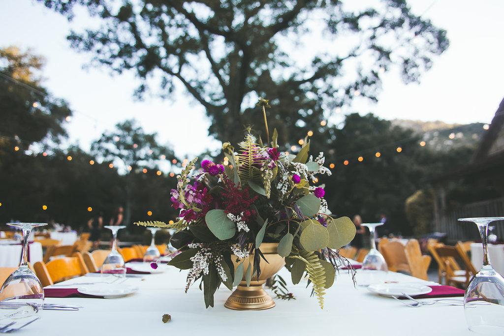 Temecula Creek Inn Moody burgundy,  marsala & brass wedding by San Diego wedding florist, Compass Floral.