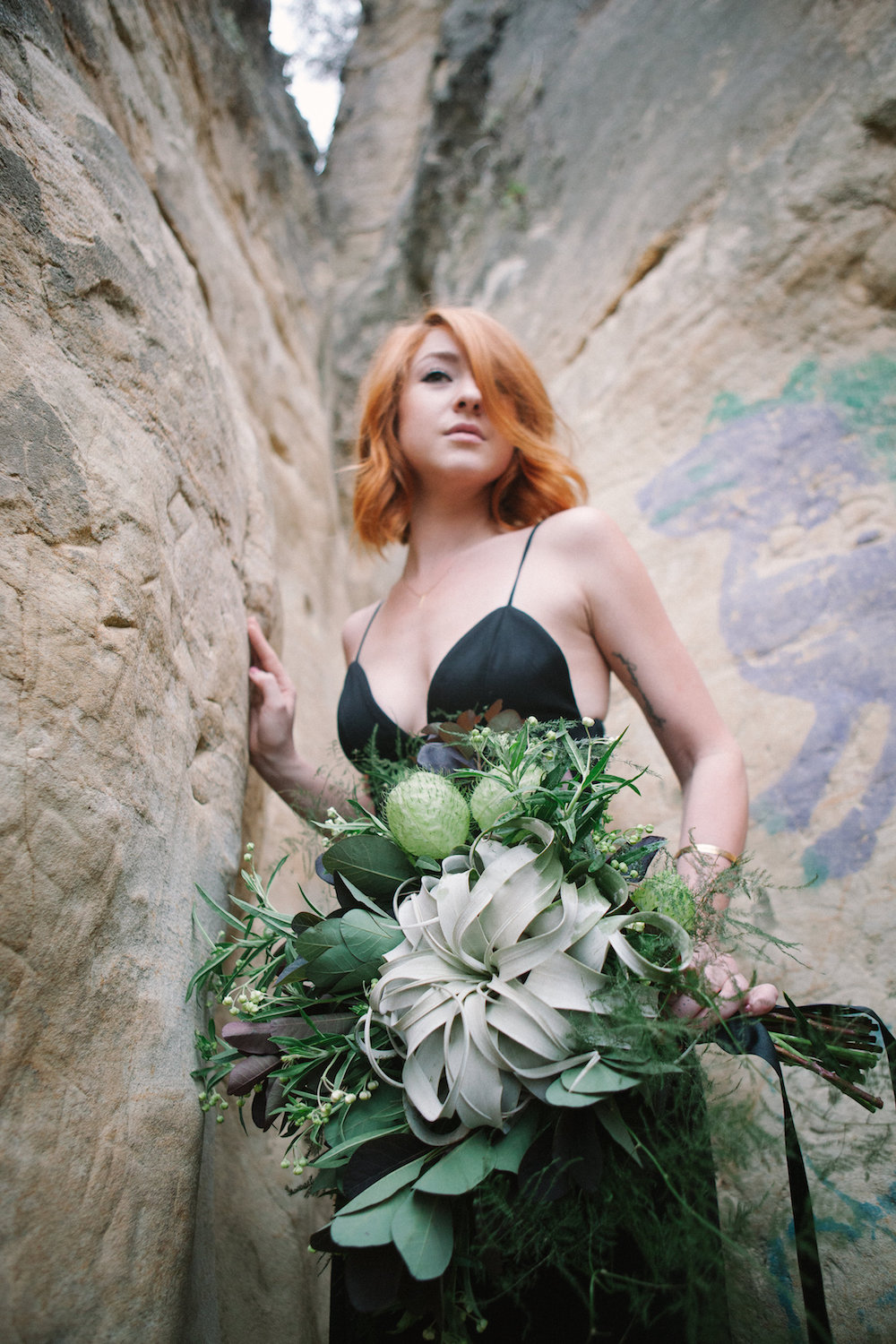 Airplant bridal bouquet by San Diego wedding florist, Compass Floral.