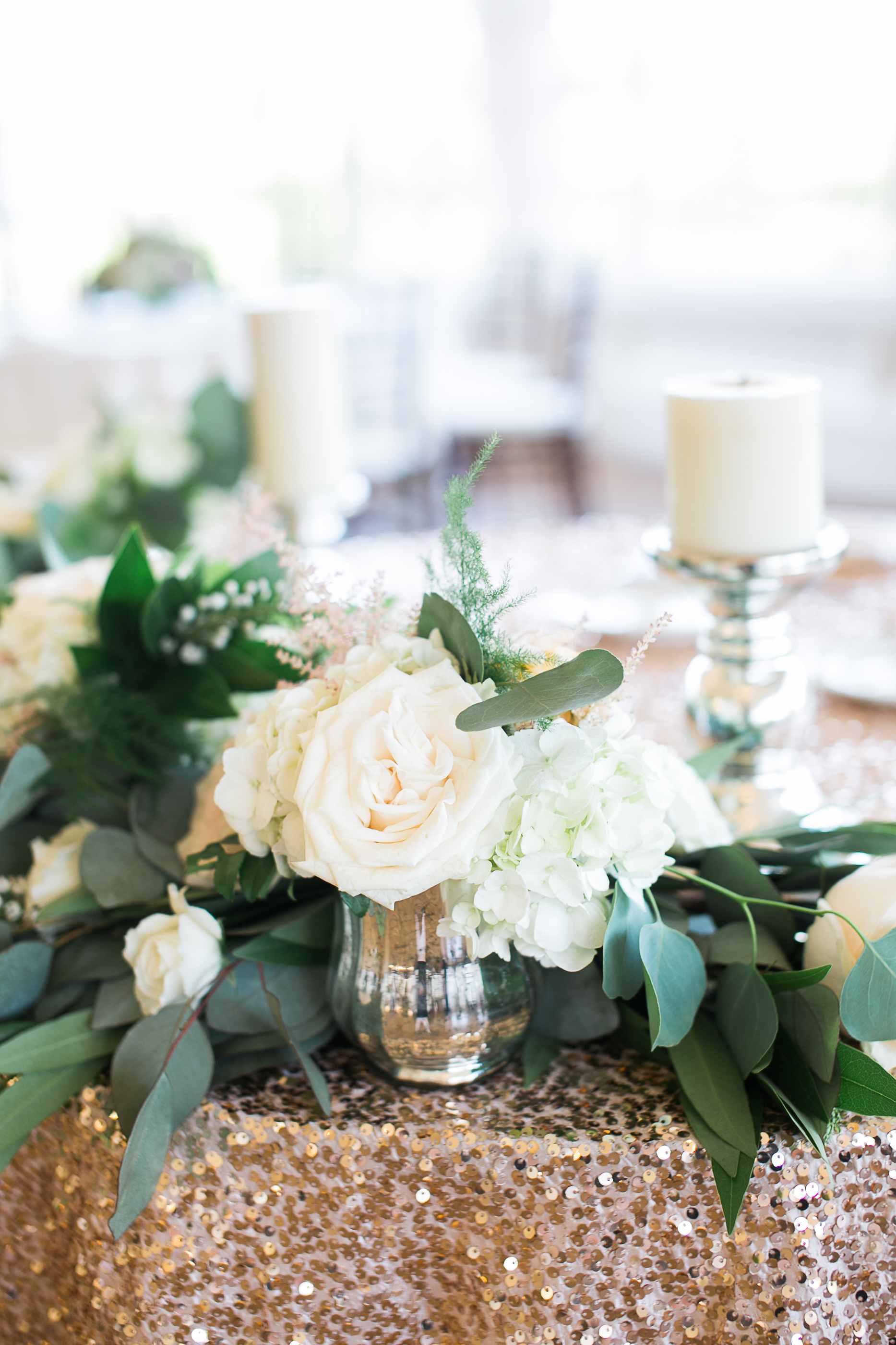 Blush & ivory, garden romantic wedding by San Diego wedding florist, Compass Floral.  Brandi Welles Photography. Gold sequin sweetheart table.