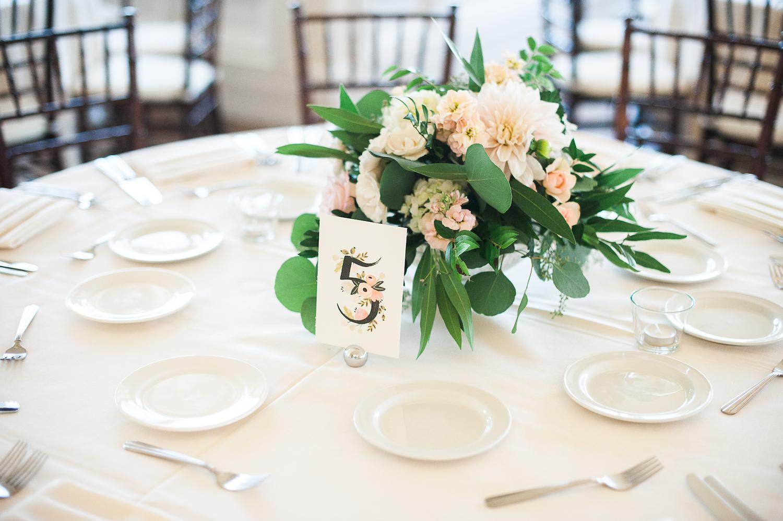 Carmel Mountain Ranch Country Club. Cafe au lait dahlia centerpiece.Blush & ivory, garden romantic wedding by San Diego wedding florist, Compass Floral.  Brandi Welles Photography.
