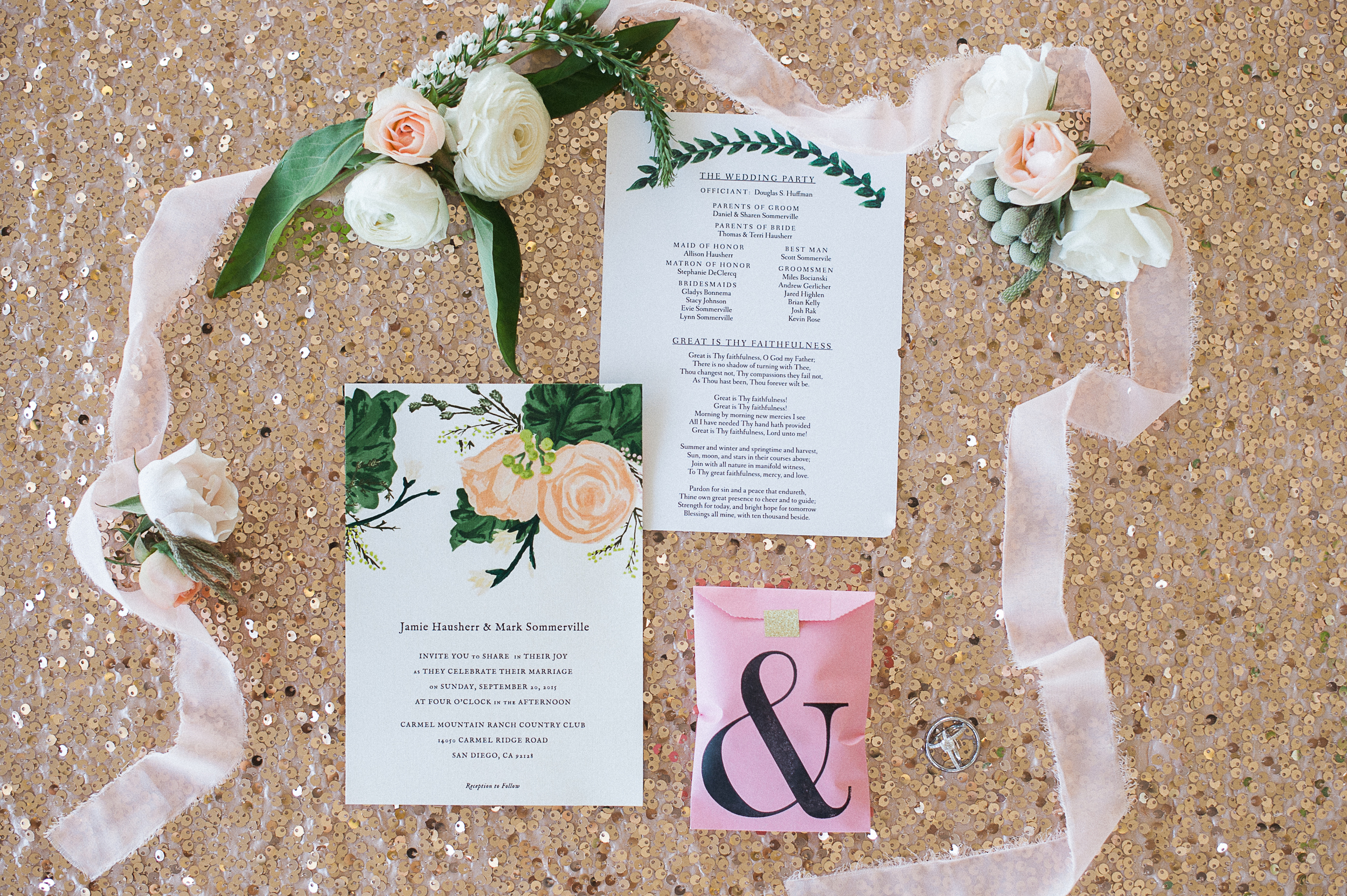 Carmel Mountain Ranch Country Club Blush garden stationary. Florals by San Diego wedding florist, Compass Floral.  Brandi Welles Photography.