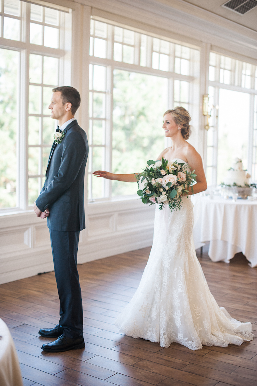 Carmel Mountain Ranch Country Club Blush & ivory, garden romantic bridal bouquet by San Diego wedding florist, Compass Floral.  Brandi Welles Photography. First look.