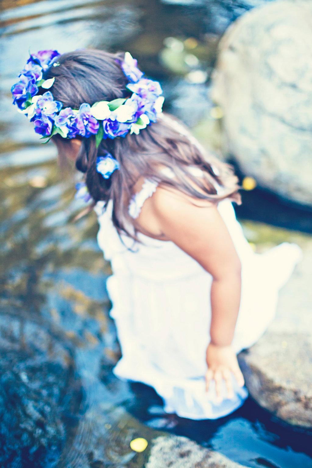 Flower g  irl crown by San Diego florist, Compas  s Fl  oral.