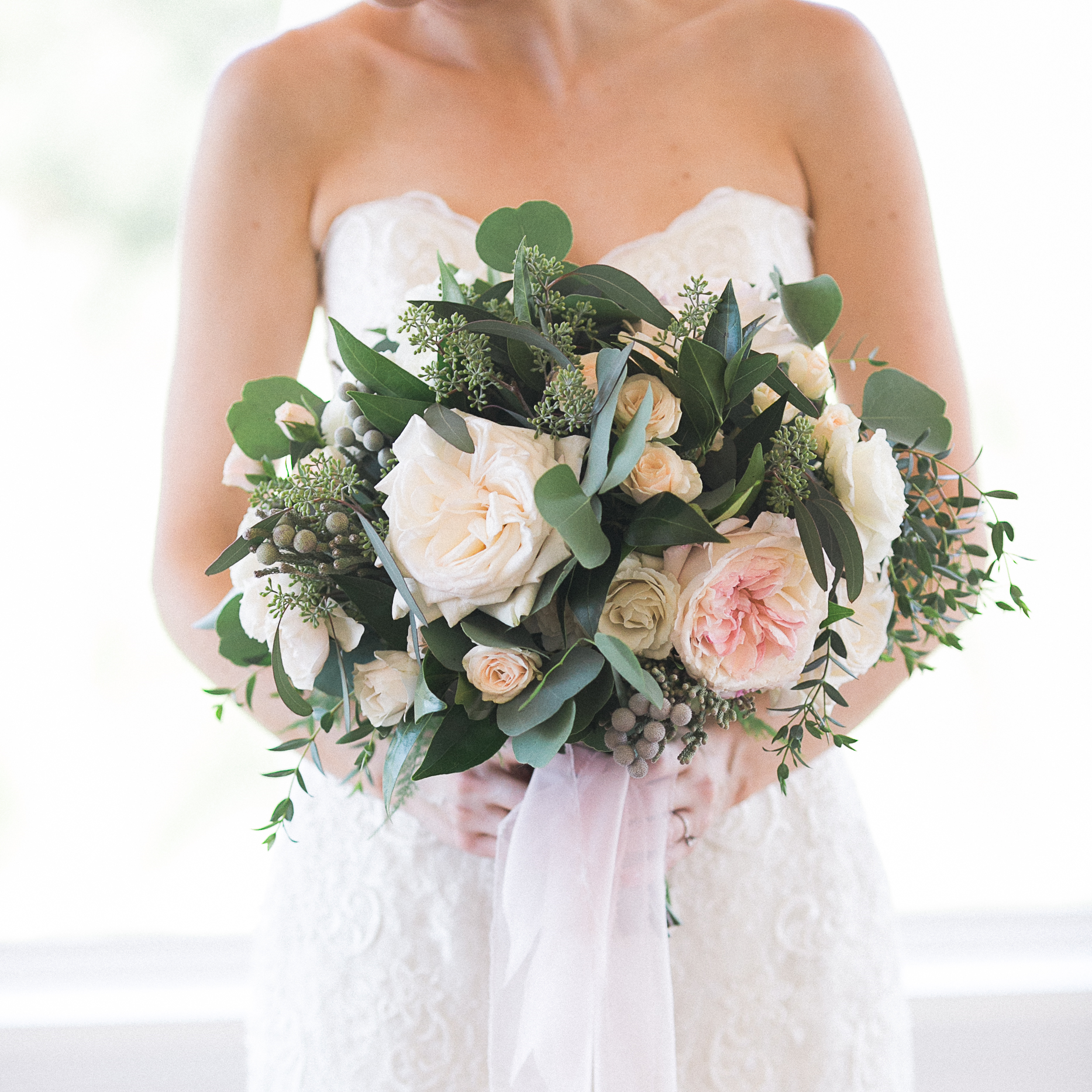 Carmel Mountain Ranch Country Club Blush & ivory, garden romantic bridal bouquet by San Diego wedding florist, Compass Floral. Brandi Welles Photography.