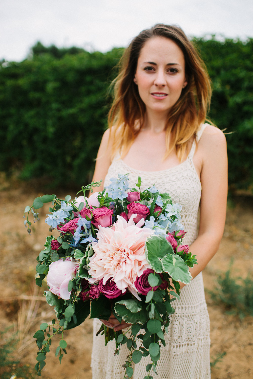 Blush & blue bridal bouquet by San Diego wedding florist, Compass Floral.  Photographed by Ashley Williams.