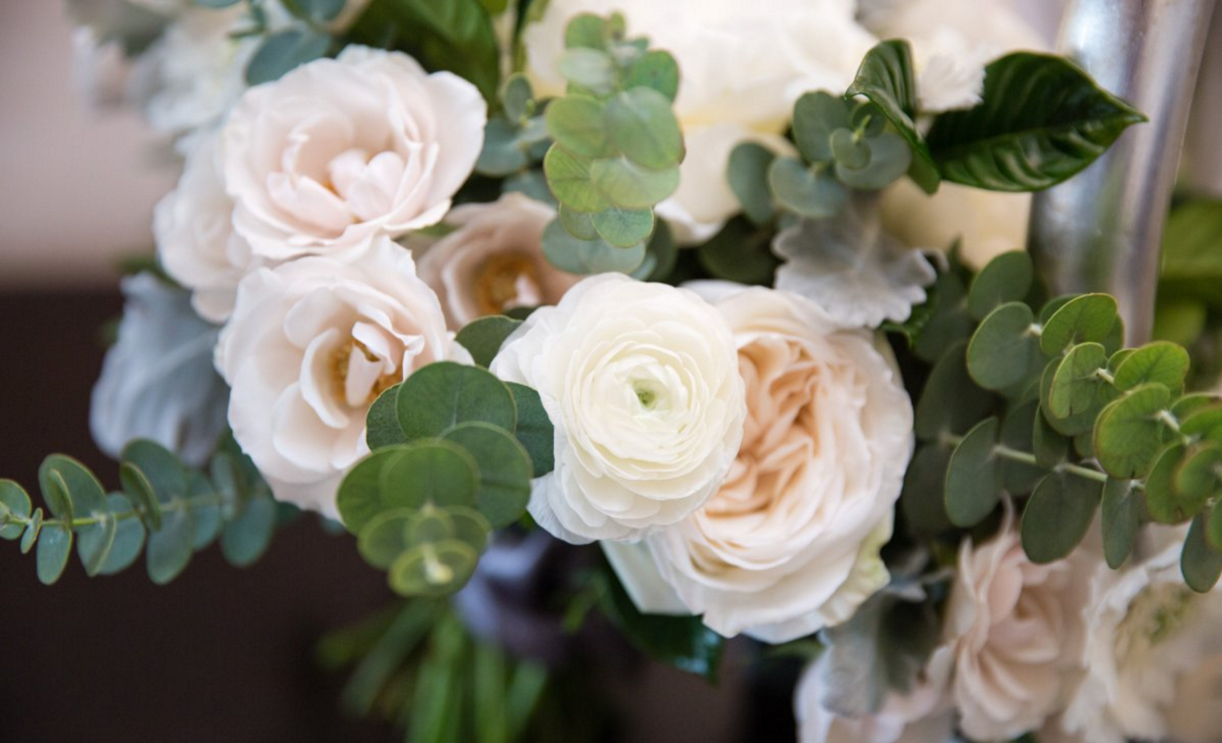 Garden romantic ivory & blush bridal bouquet of ranunculus & garden   roses by San Diego wedding florist, Compass Floral.